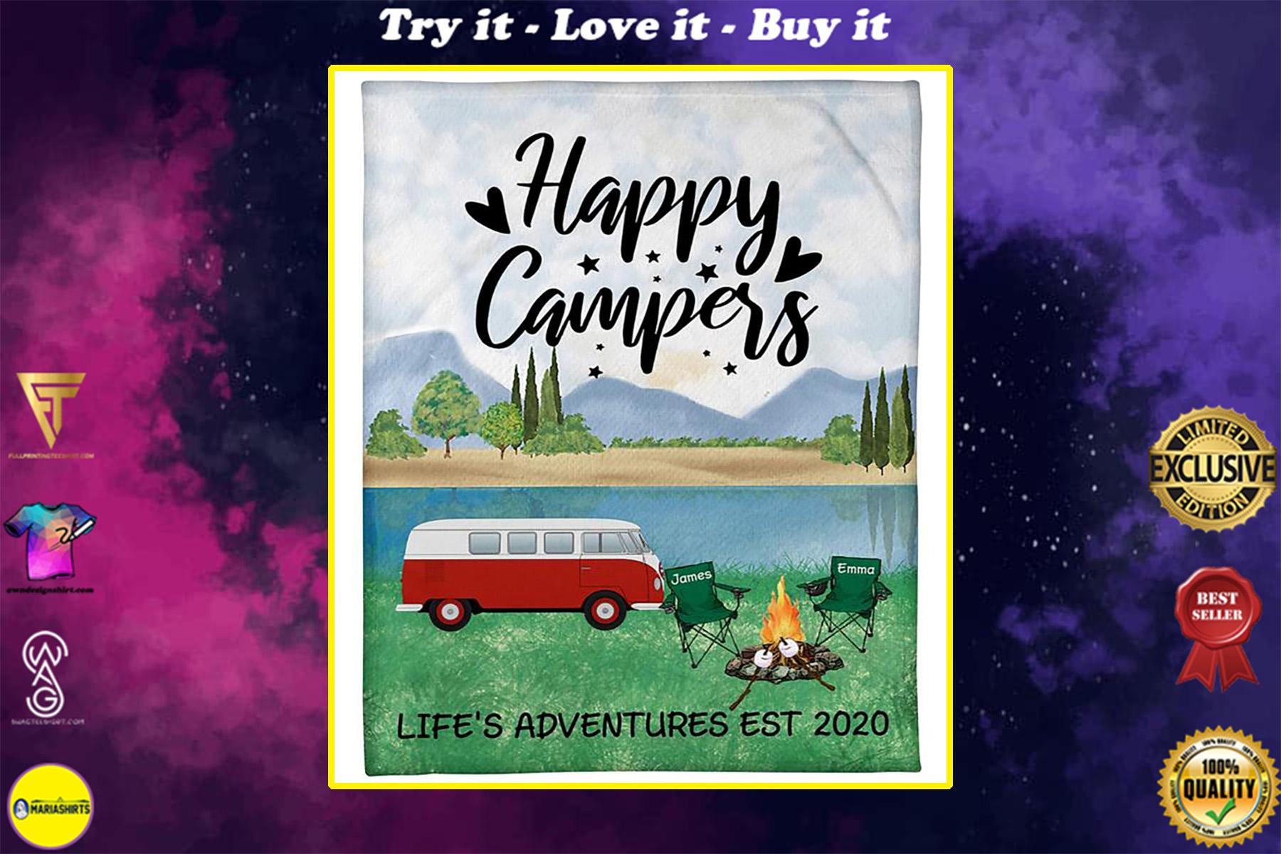 custom name happy campers lifes adventures camping blanket