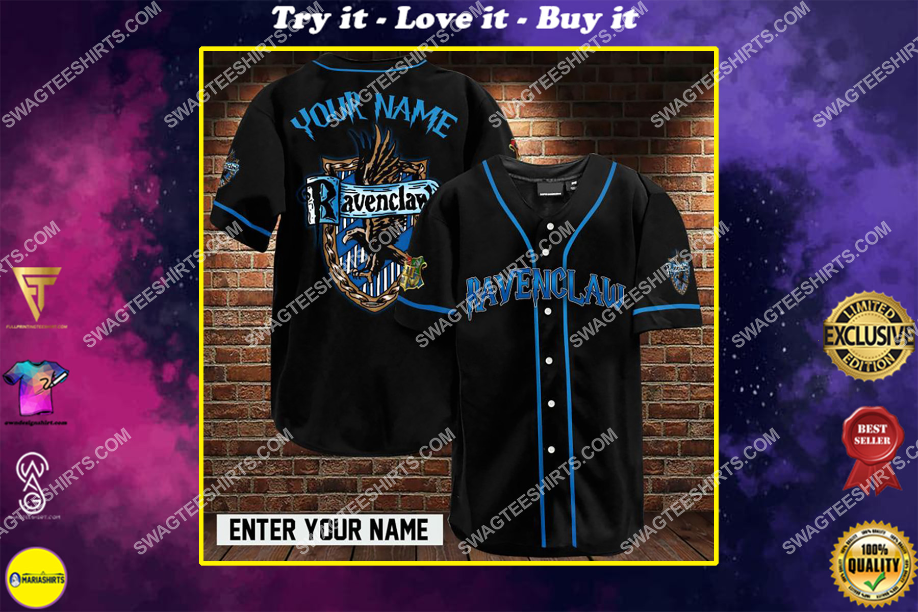 custom name harry potter ravenclaw full printing baseball shirt