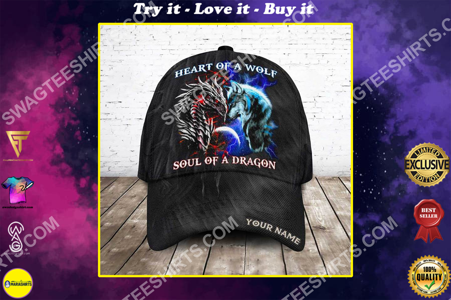 custom name heart of a wolf soul of a dragon all over printed classic cap