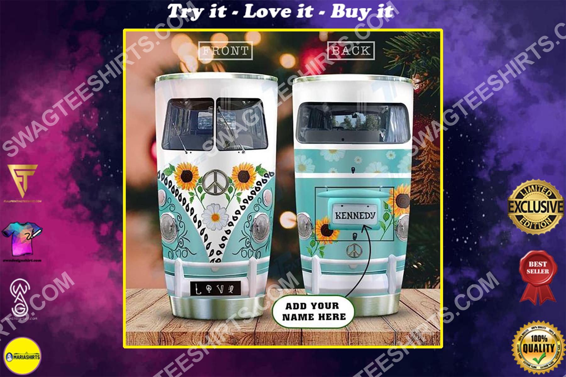 custom name hippie vans sunflower peace symbol all over printed stainless steel tumbler