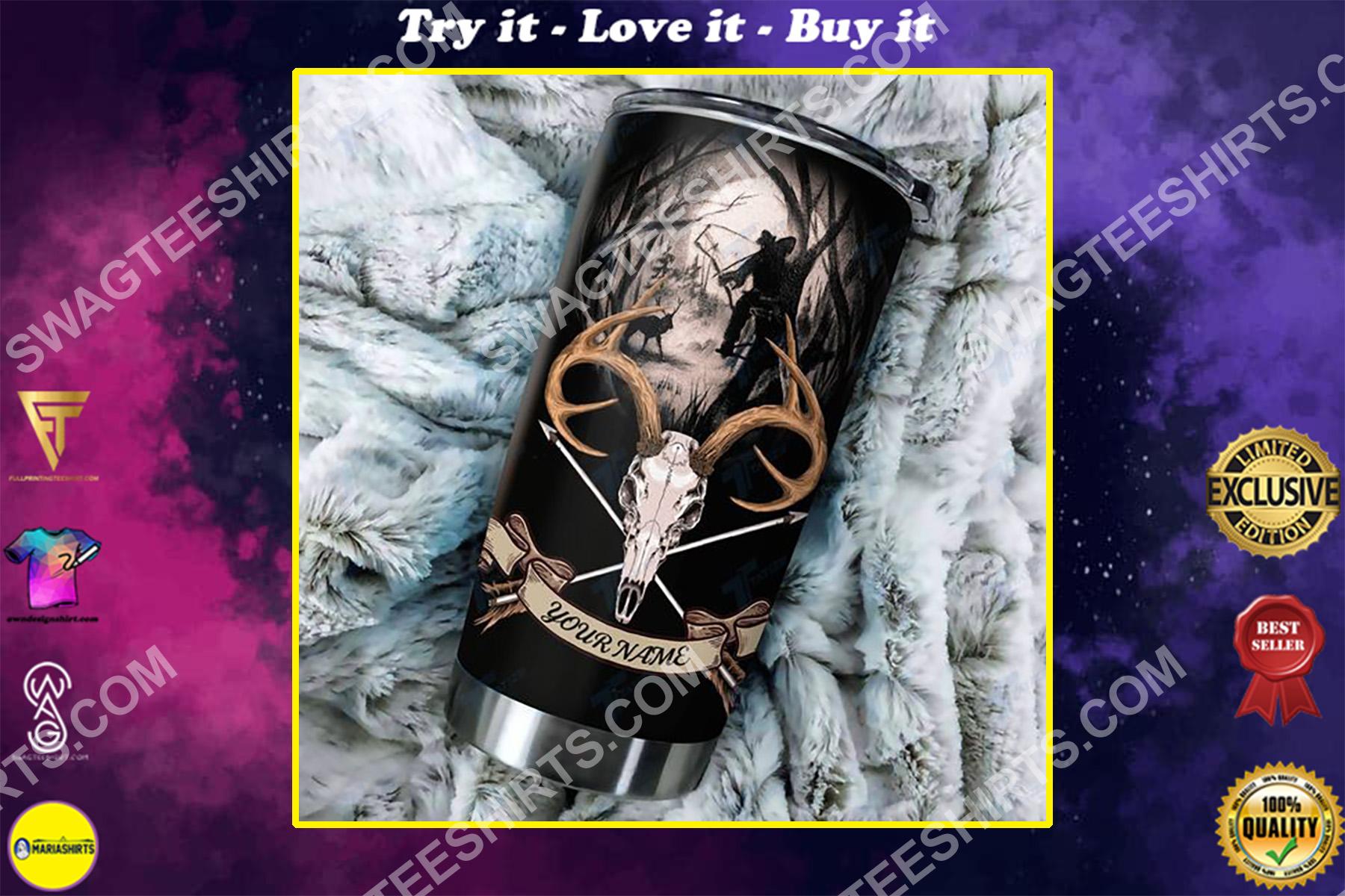 custom name hunting cross arrow elk skull all over printed stainless steel tumbler