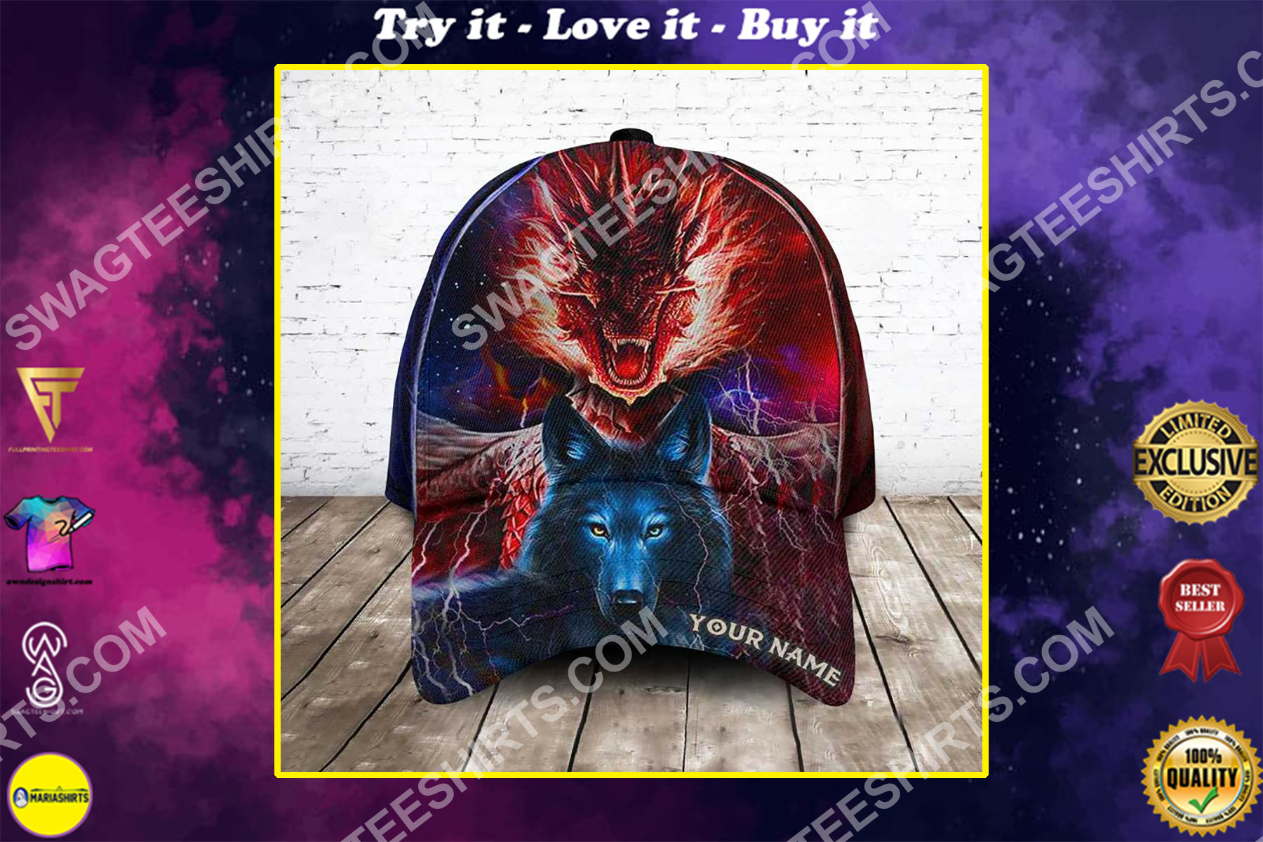 custom name ice and fire dragon and wolf all over printed classic cap