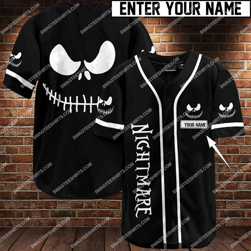 custom name jack skellington all over printed baseball shirt 1