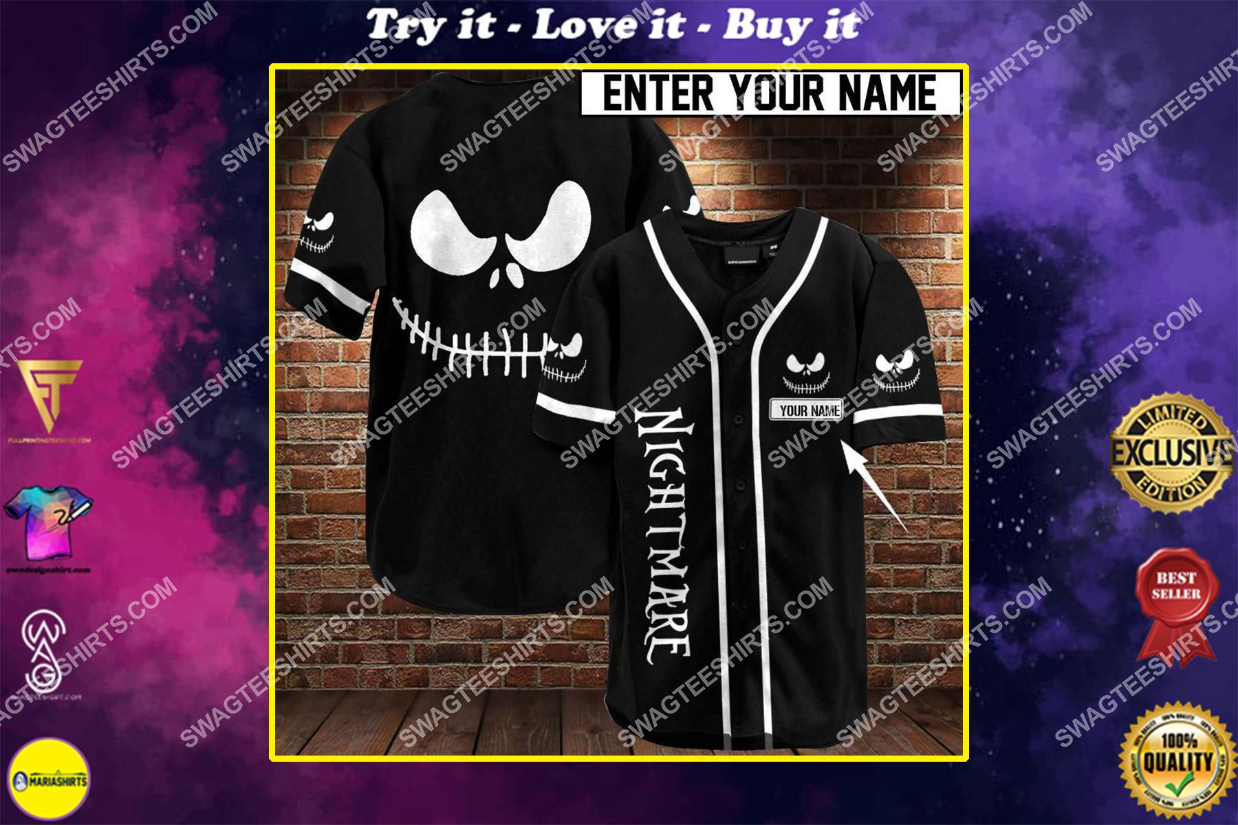 custom name jack skellington all over printed baseball shirt
