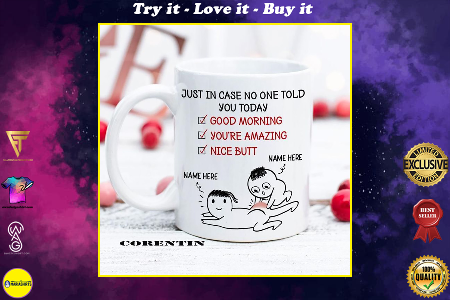 custom name just in case no one told you today happy valentine's day mug