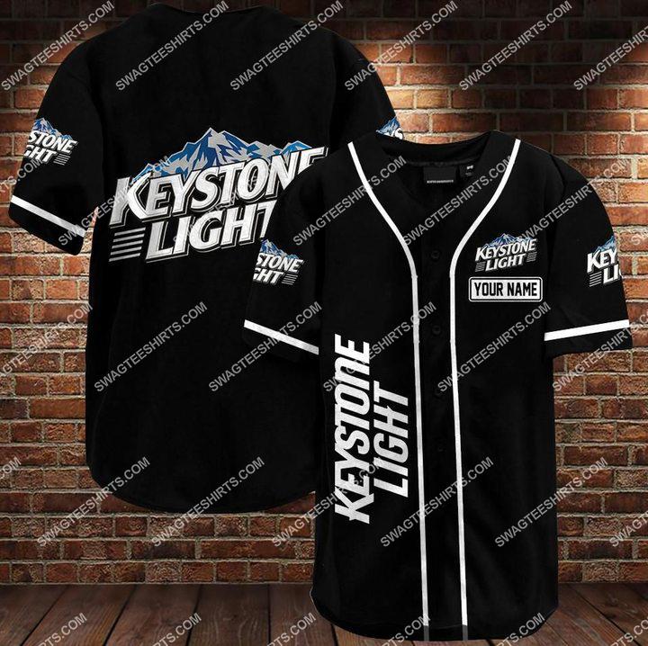 custom name keystone light all over printed baseball shirt 1