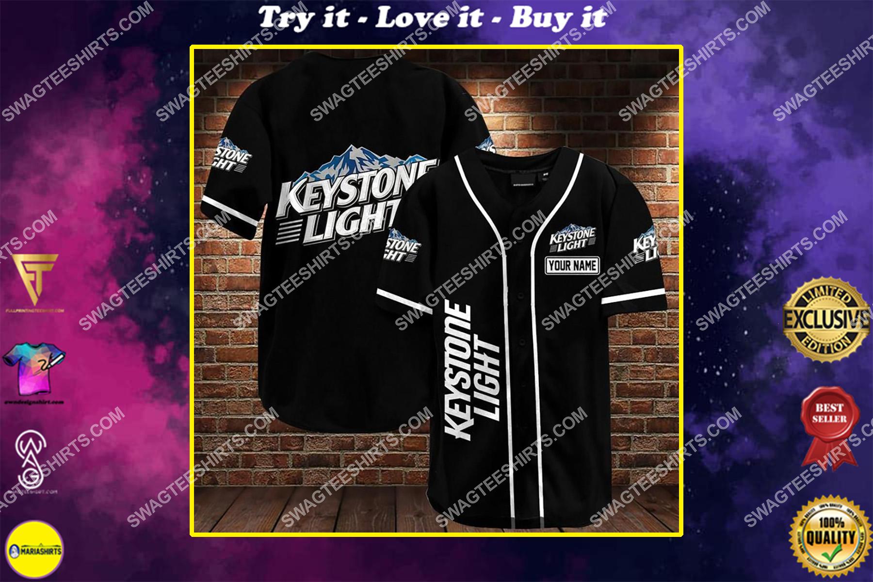 custom name keystone light all over printed baseball shirt