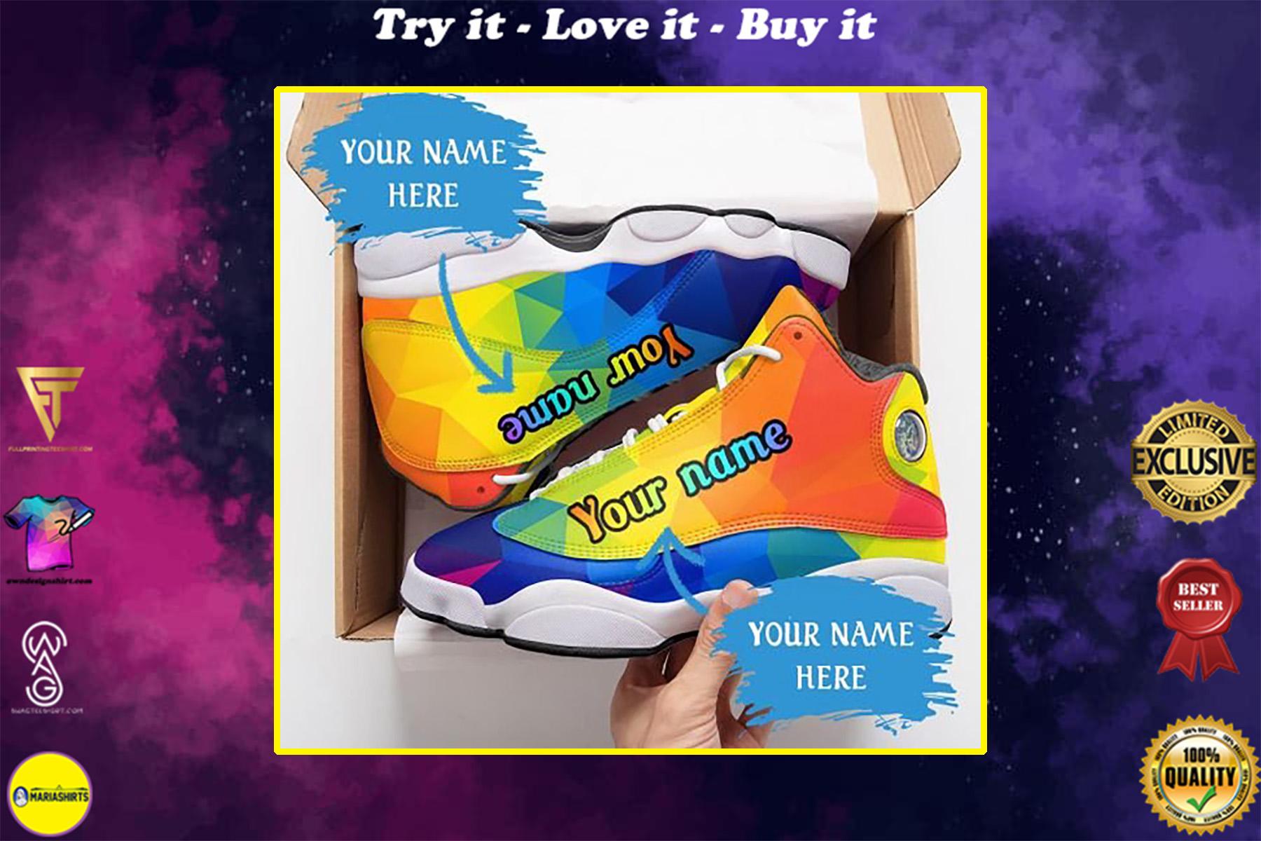 custom name lgbt color pattern all over printed air jordan 13 sneakers