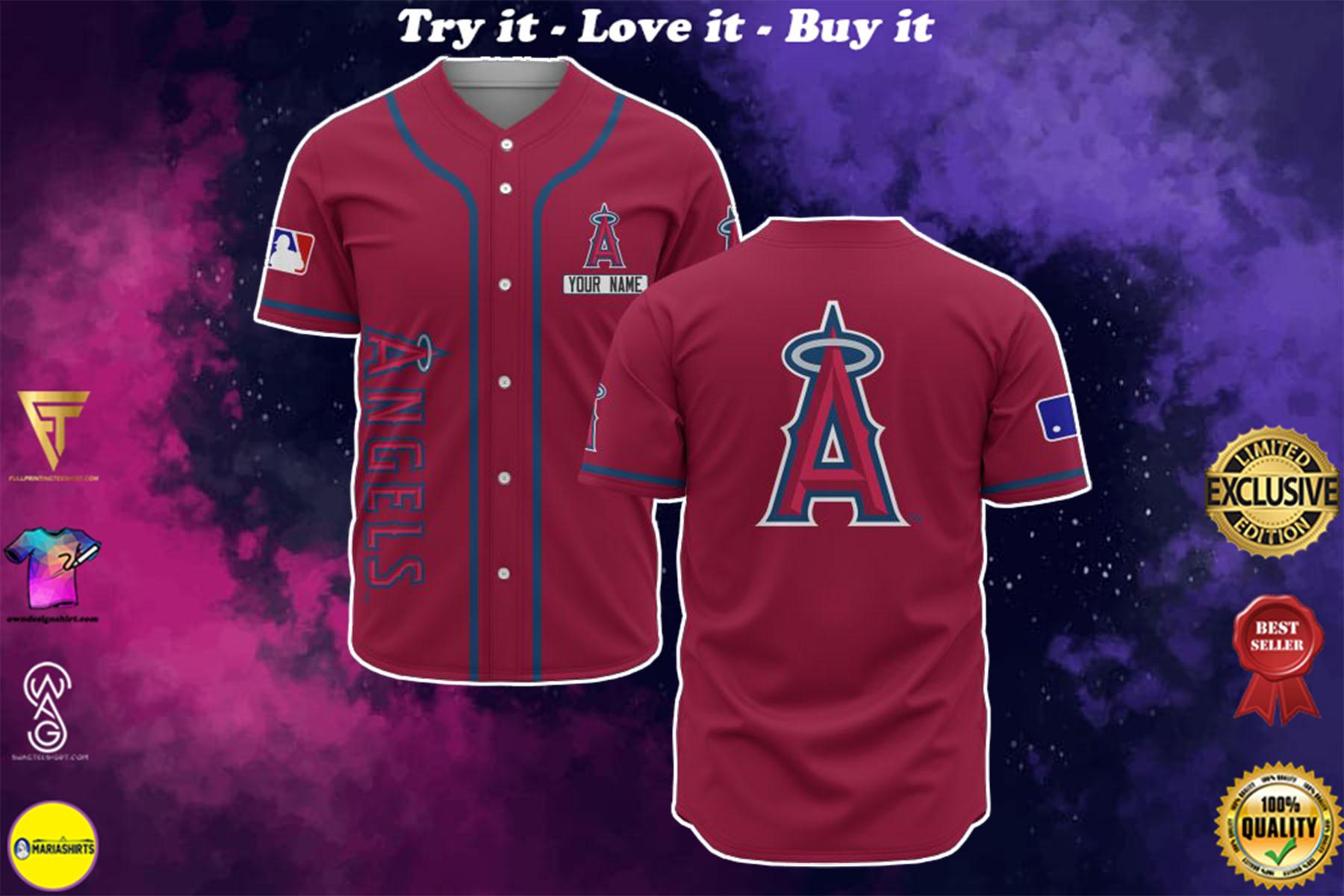 custom name los angeles angels baseball shirt