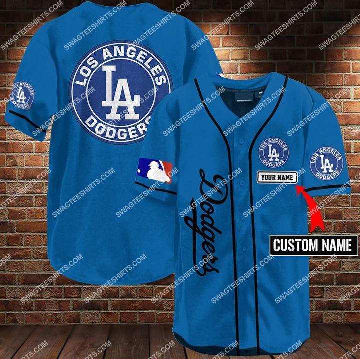 custom name los angeles dodgers all over printed baseball shirt 1