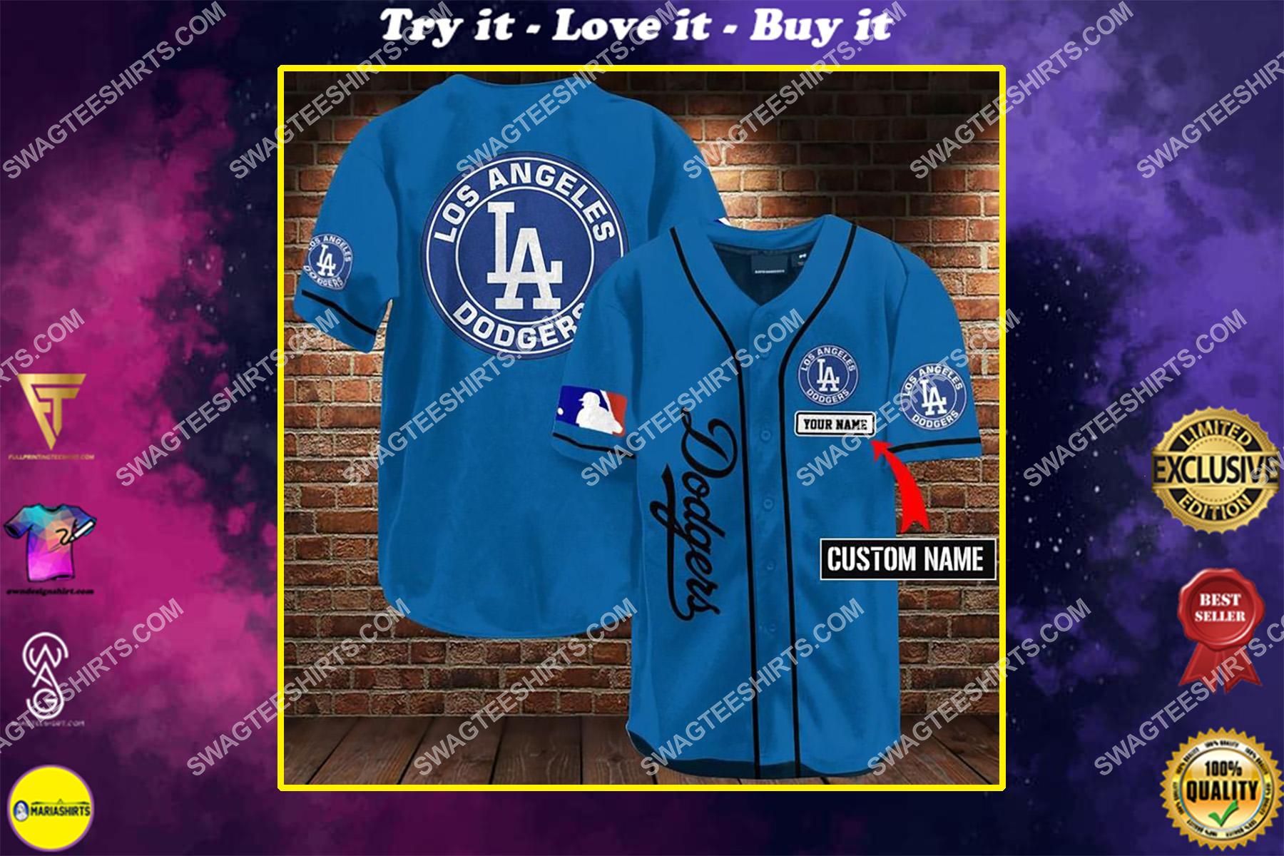 custom name los angeles dodgers all over printed baseball shirt