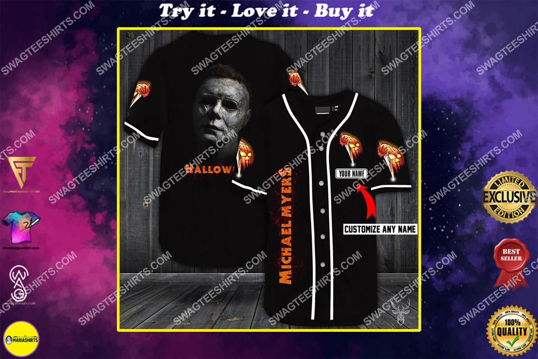 custom name michael myers halloween full printing baseball shirt