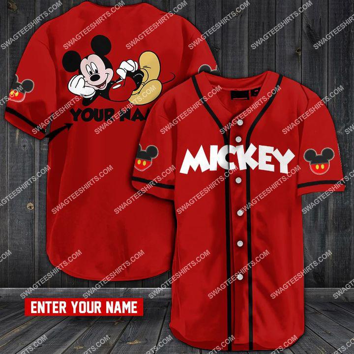 custom name mickey mouse all over printed baseball shirt 1