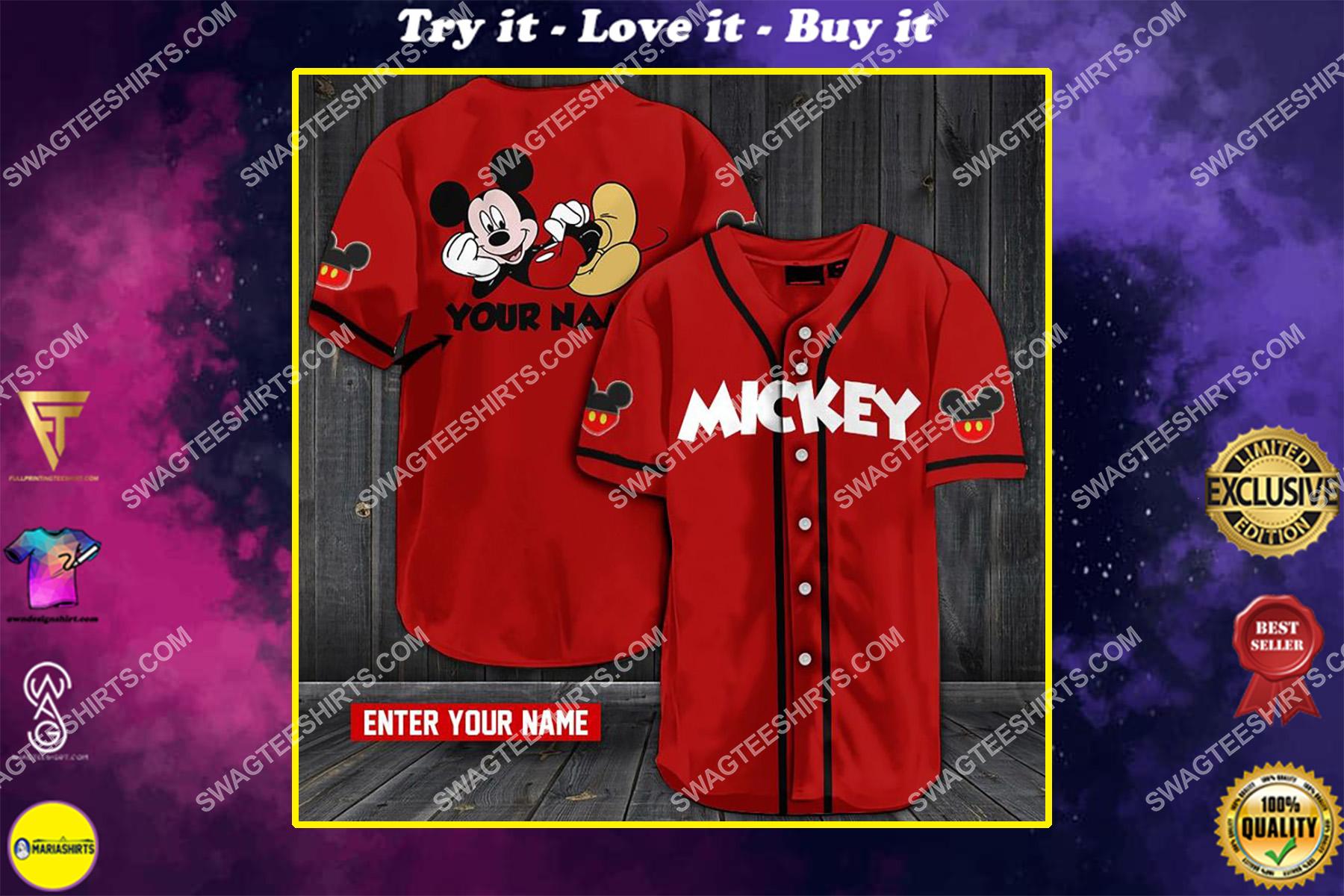 custom name mickey mouse all over printed baseball shirt