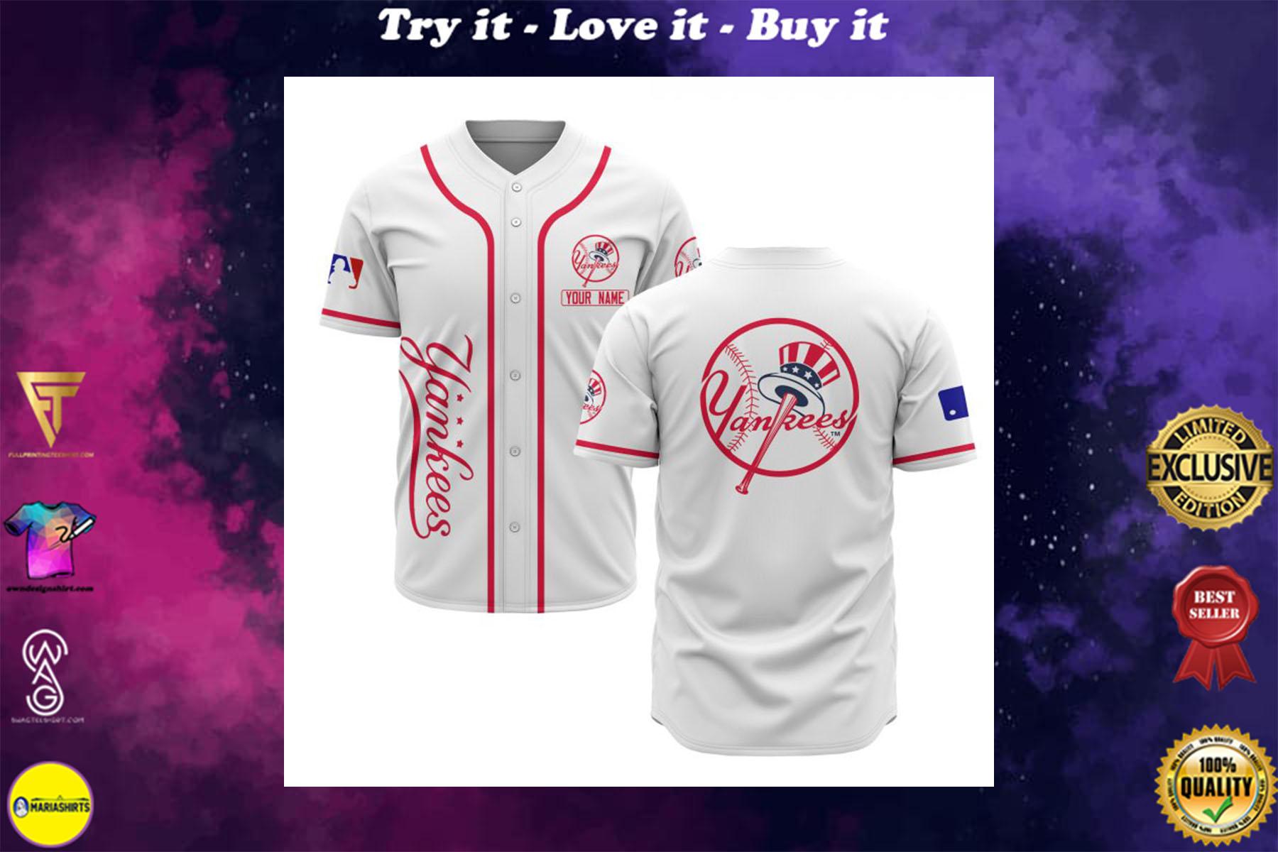 custom name new york yankees baseball shirt