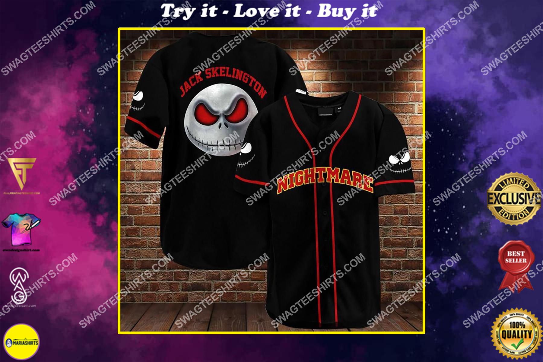 custom name nightmare before christmas baseball shirt