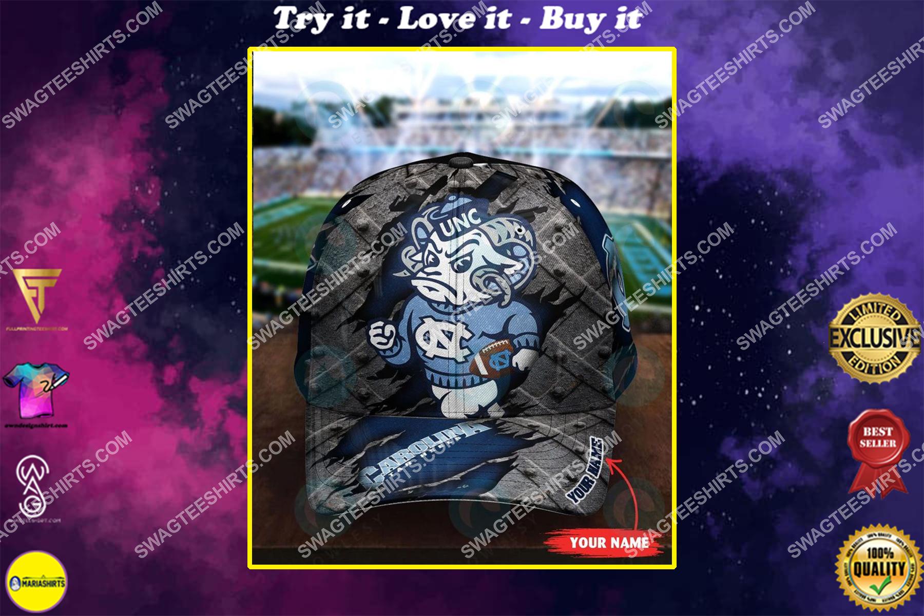 custom name north carolina tar heels football full printing cap