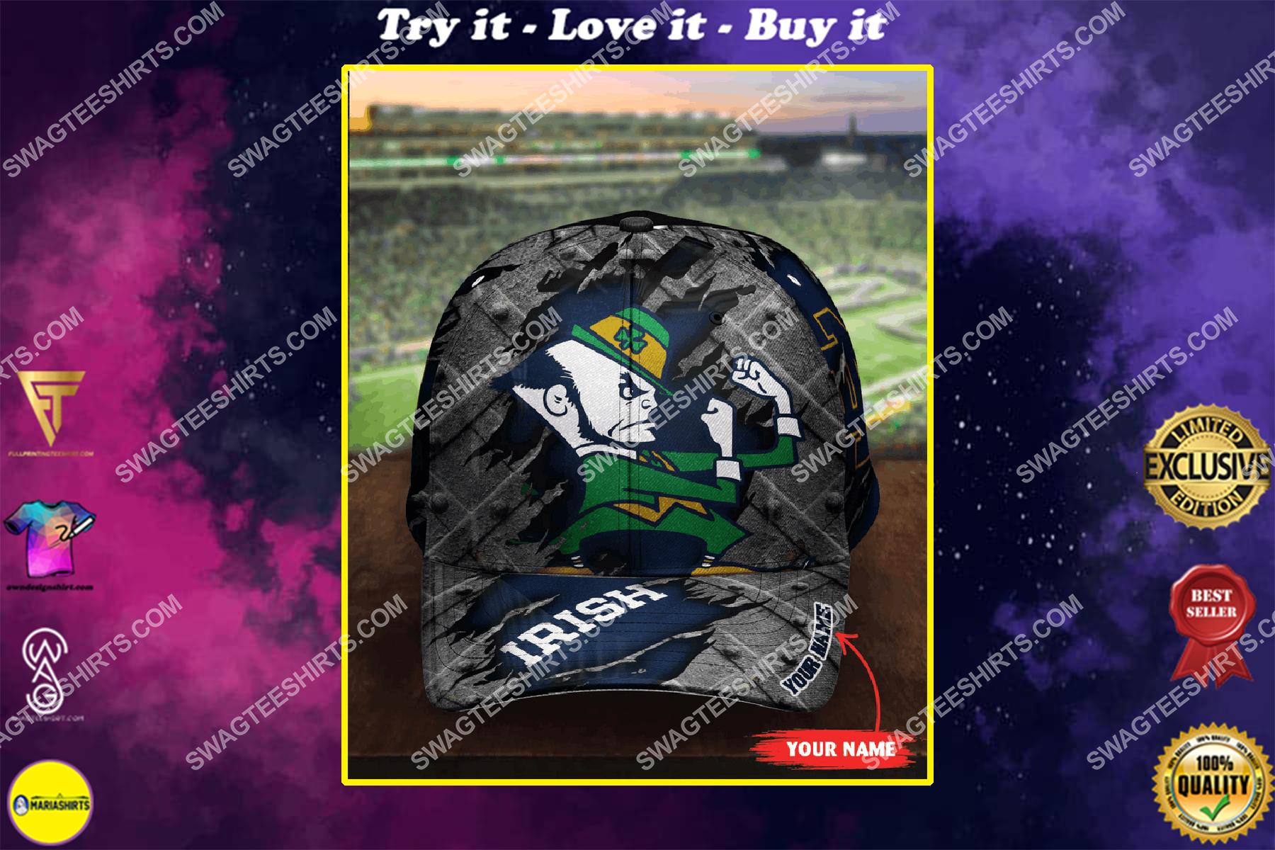 custom name notre dame fighting irish football full printing cap