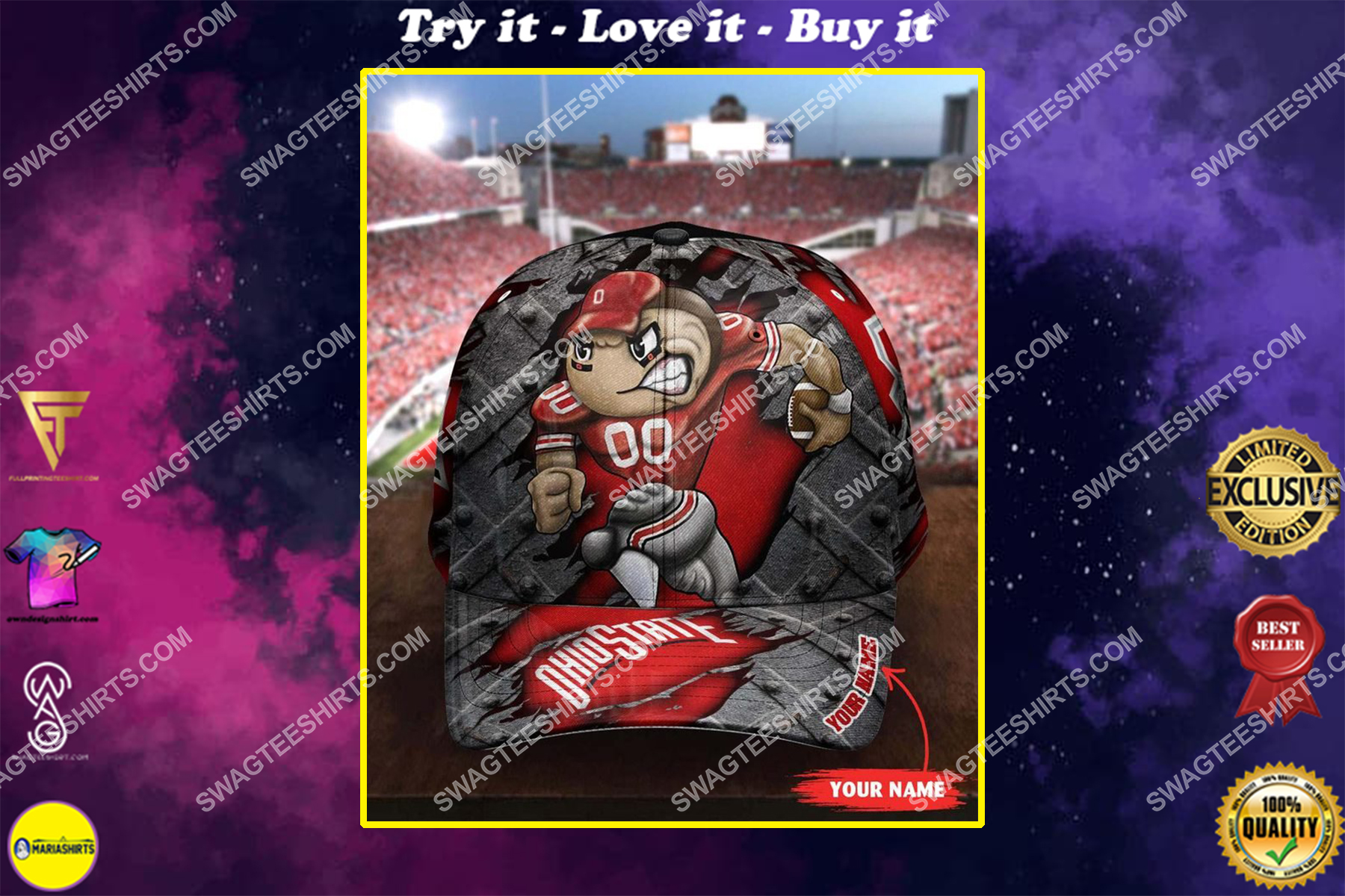 custom name ohio state buckeyes football full printing cap