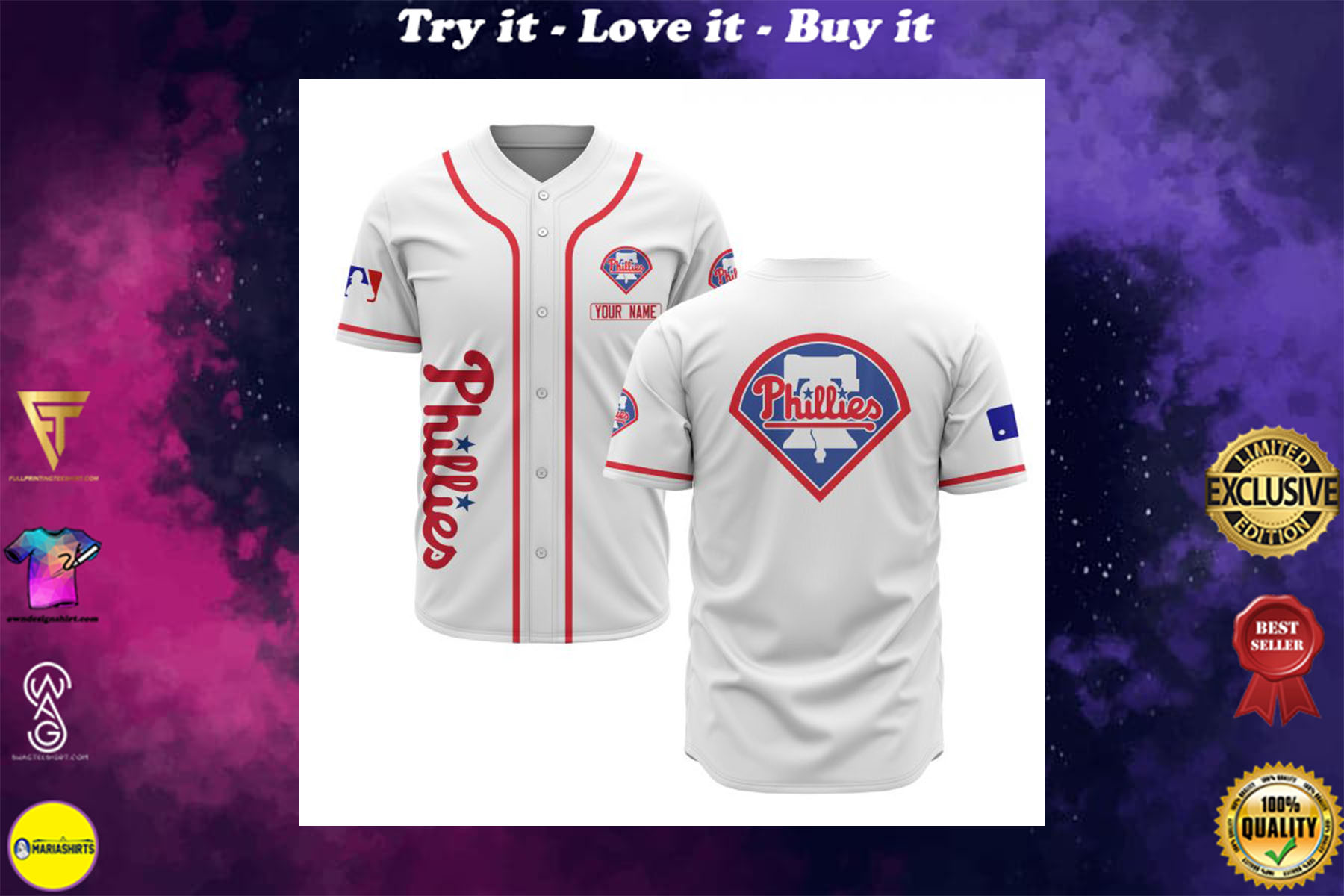 custom name philadelphia phillies baseball shirt