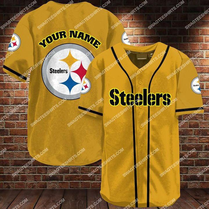 custom name pittsburgh steelers all over printed baseball shirt 1