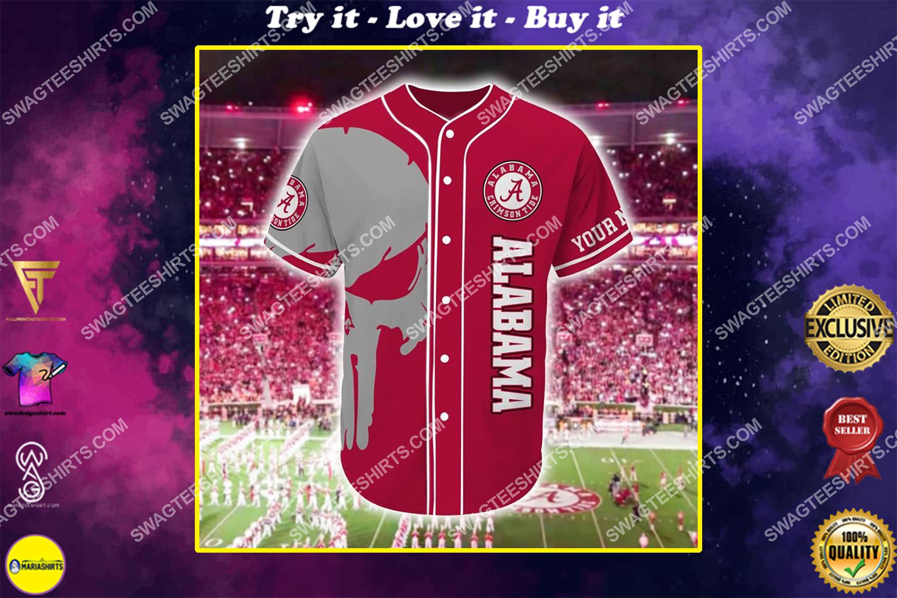 custom name skull football team alabama crimson tide full printing baseball jersey