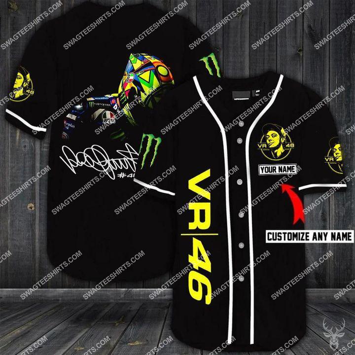 custom name sky racing team vr46 all over printed baseball shirt 1