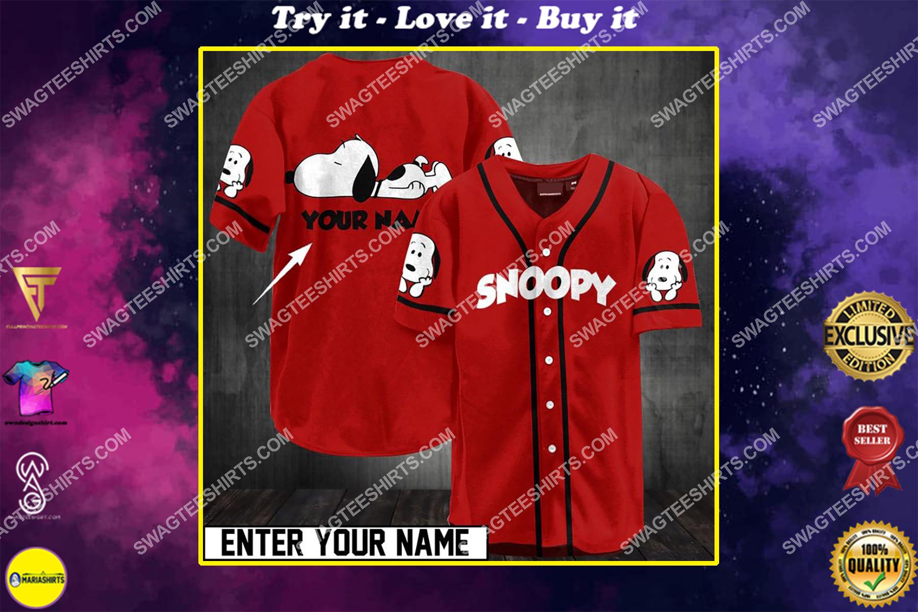 custom name snoopy all over printed baseball shirt