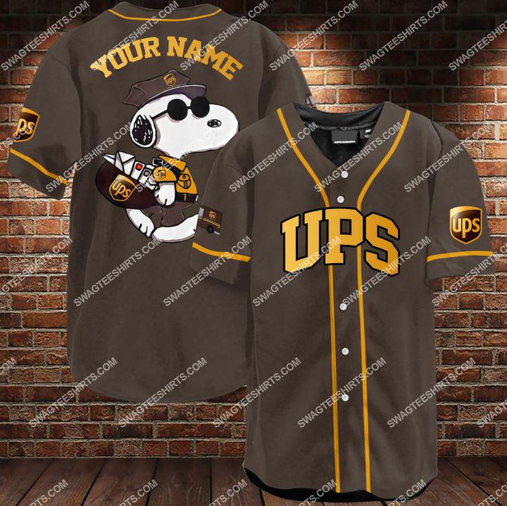 custom name snoopy and ups all over printed baseball shirt 1