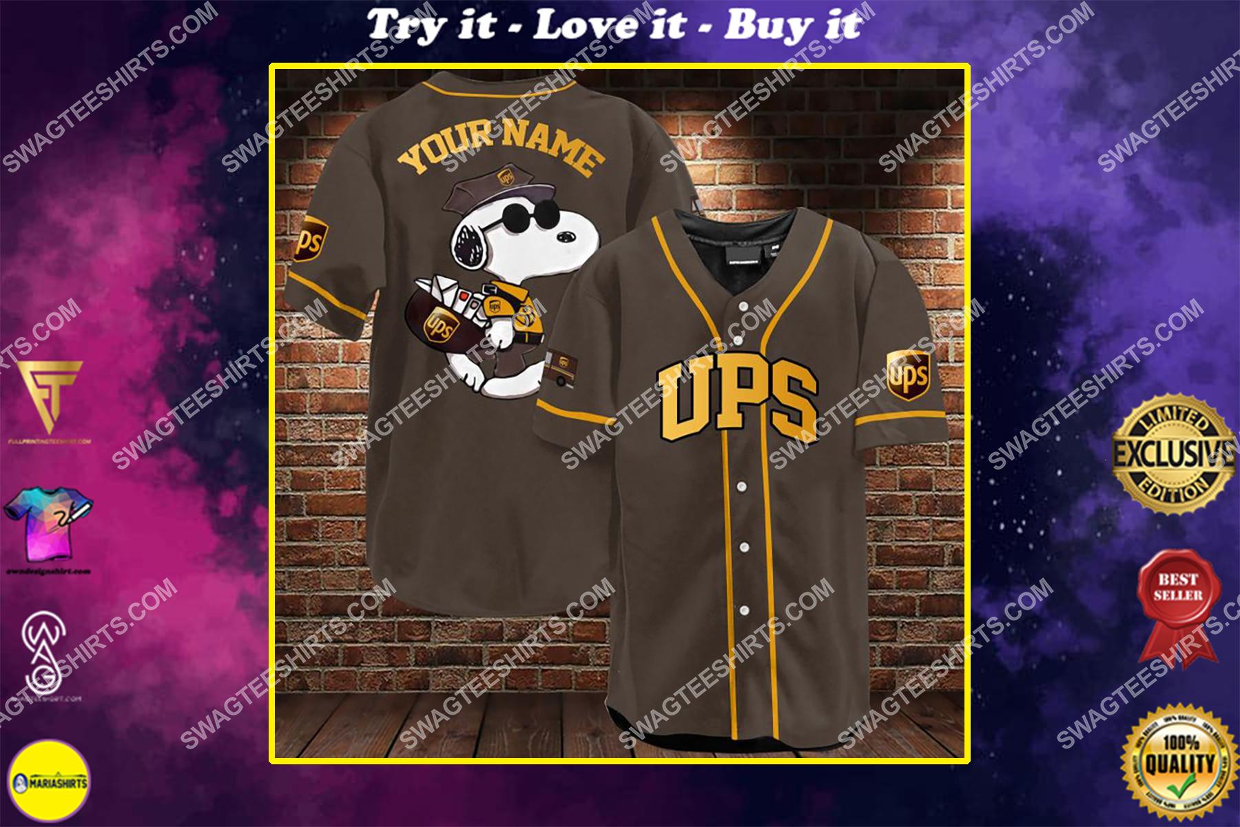 custom name snoopy and ups all over printed baseball shirt