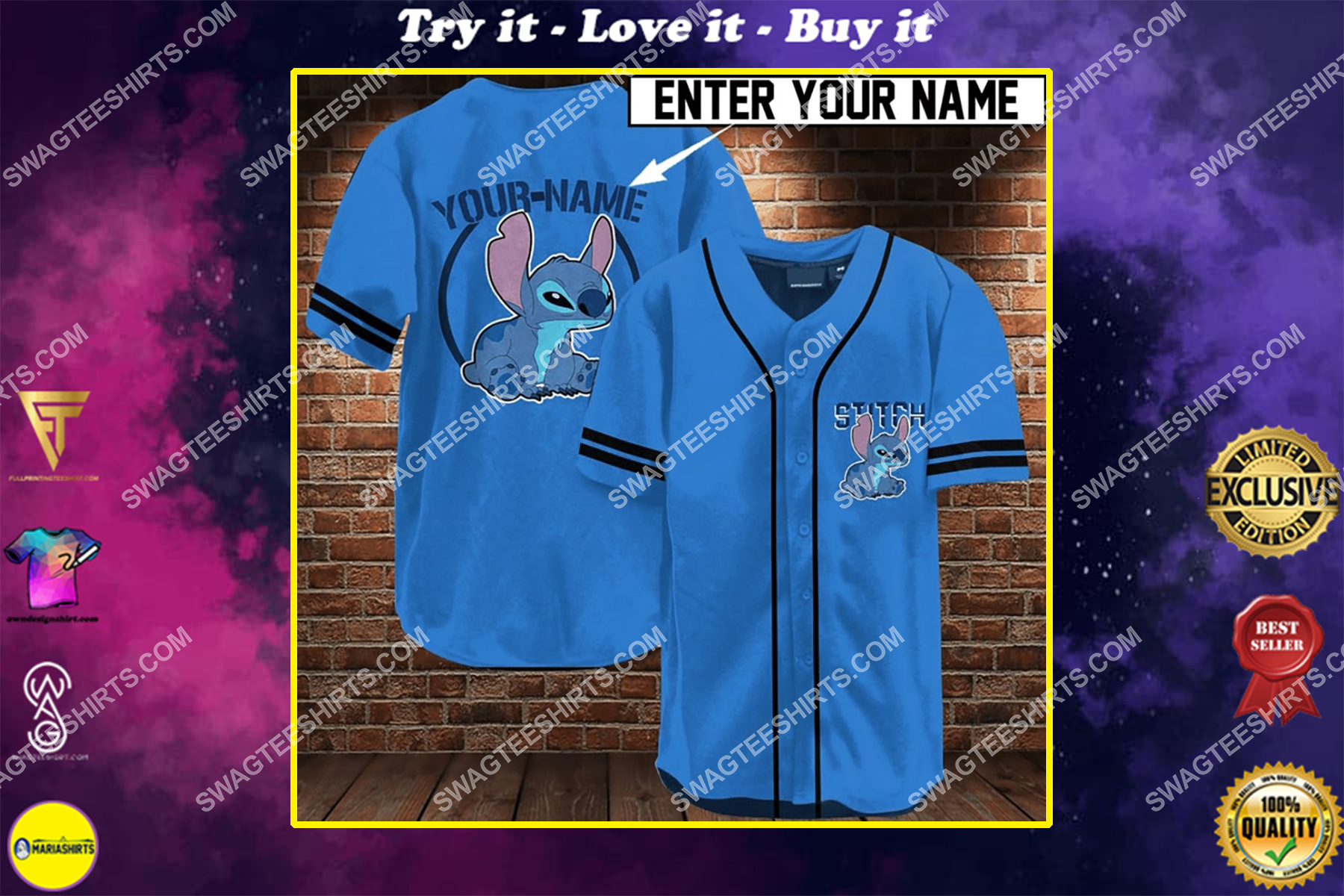 custom name stitch full printing baseball shirt