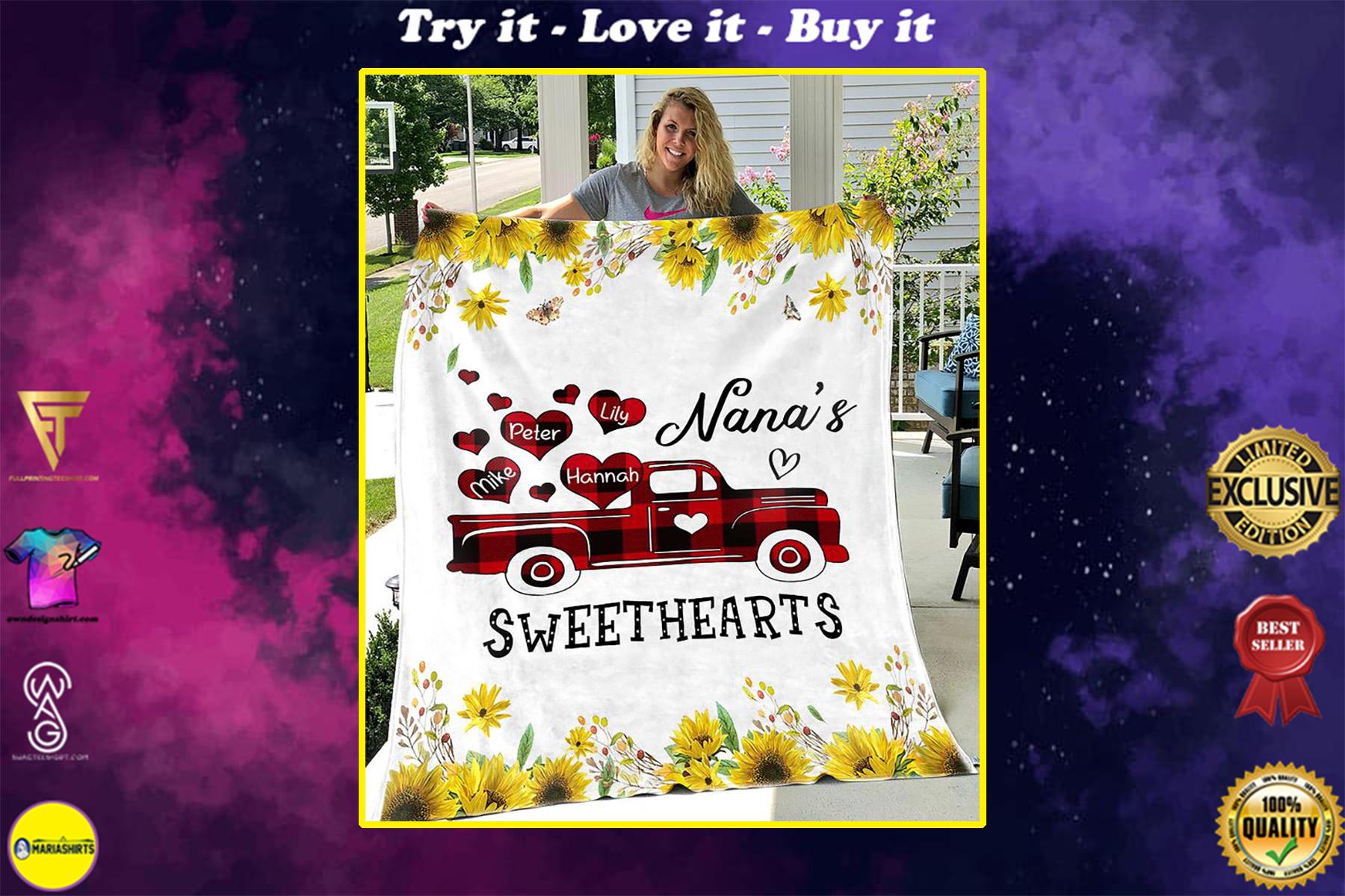 custom name sunflower nana and sweethearts blanket