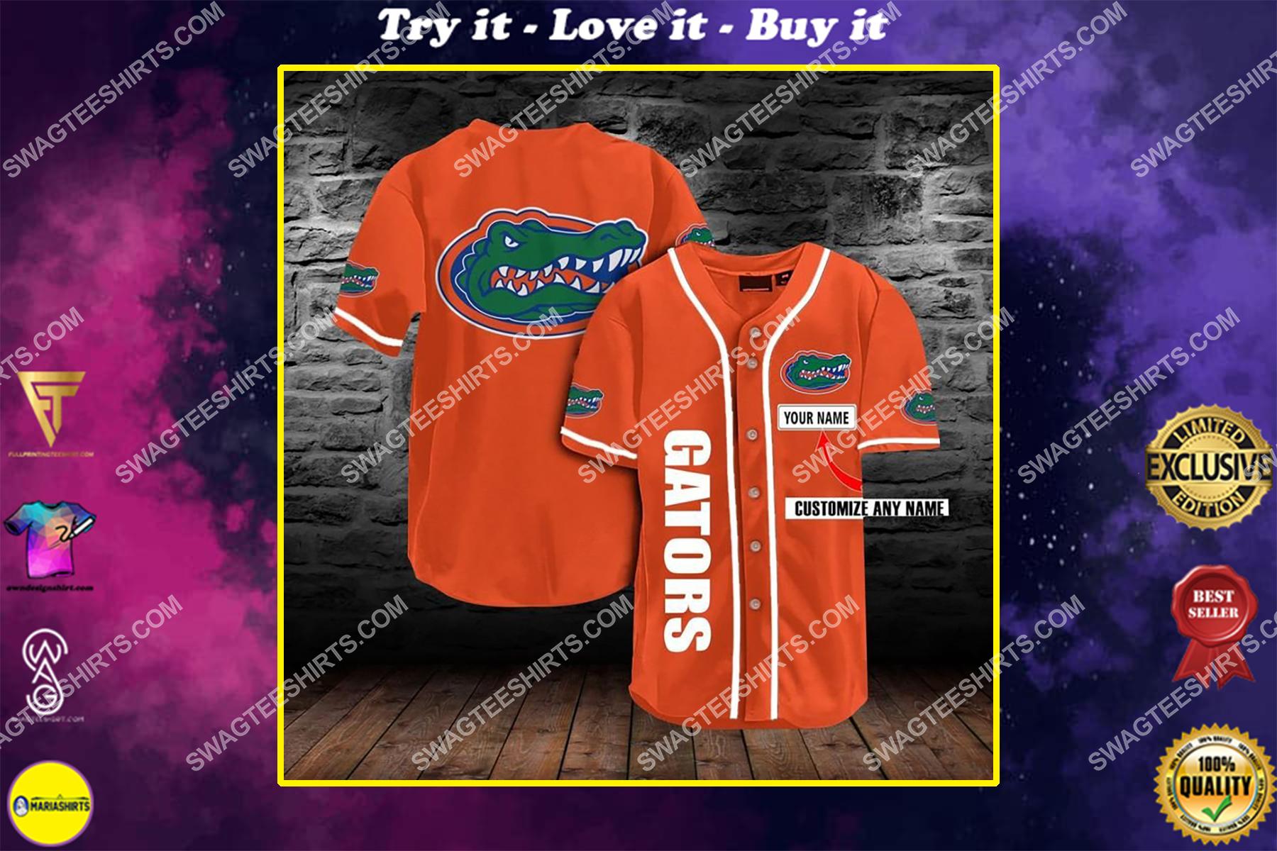 custom name the florida gators football full printing baseball jersey