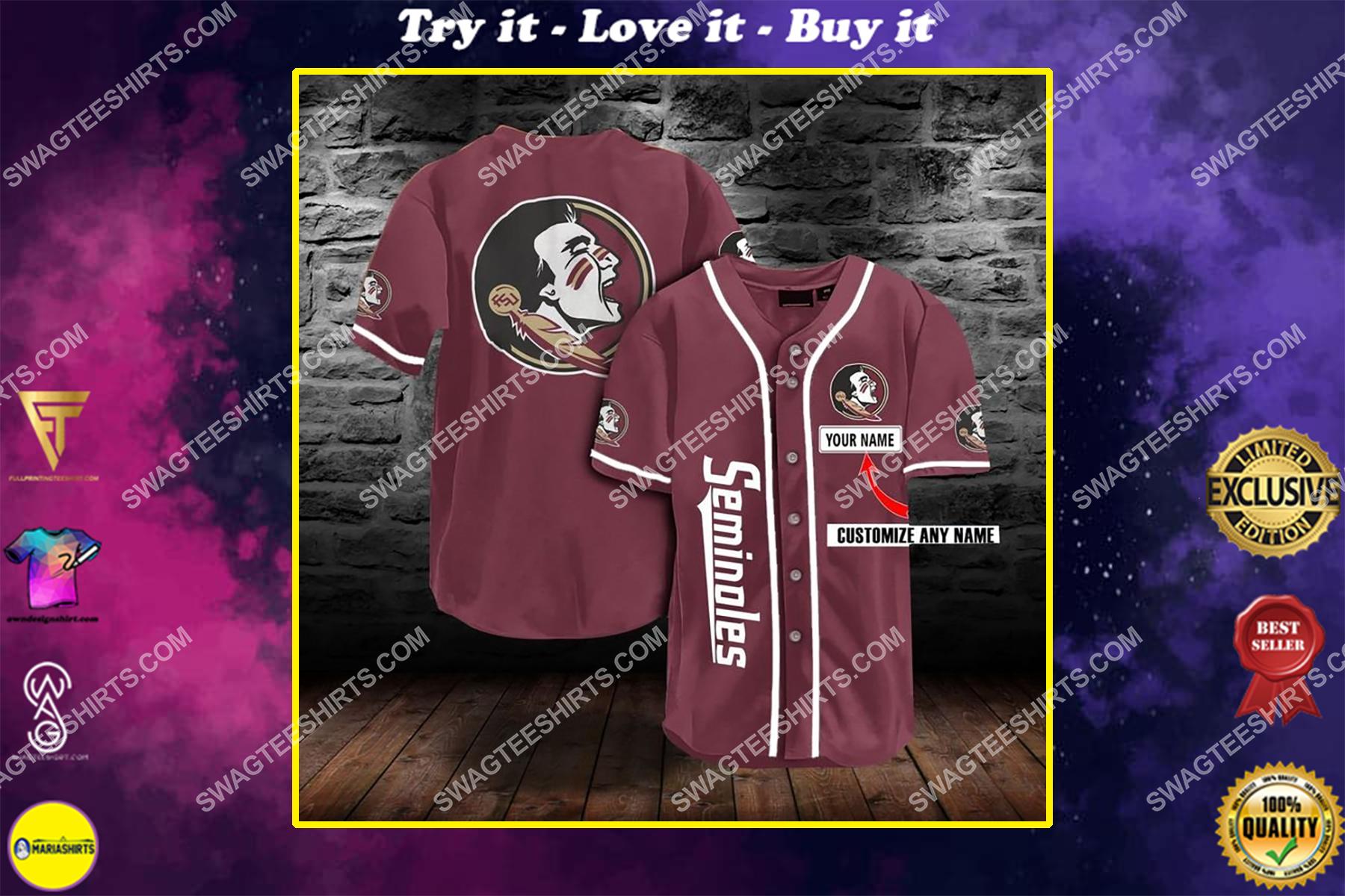 custom name the florida state seminoles baseball full printing baseball jersey