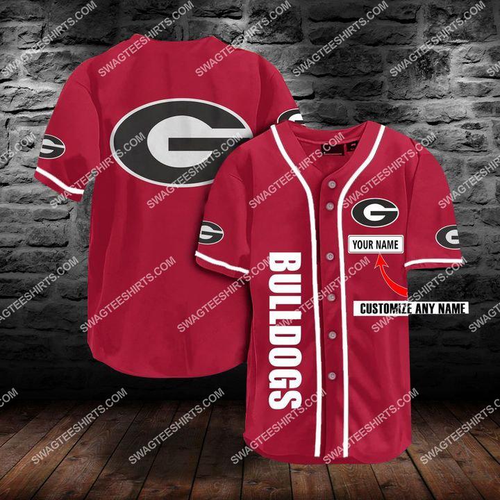 custom name the georgia bulldogs full printing baseball jersey 1(3) - Copy