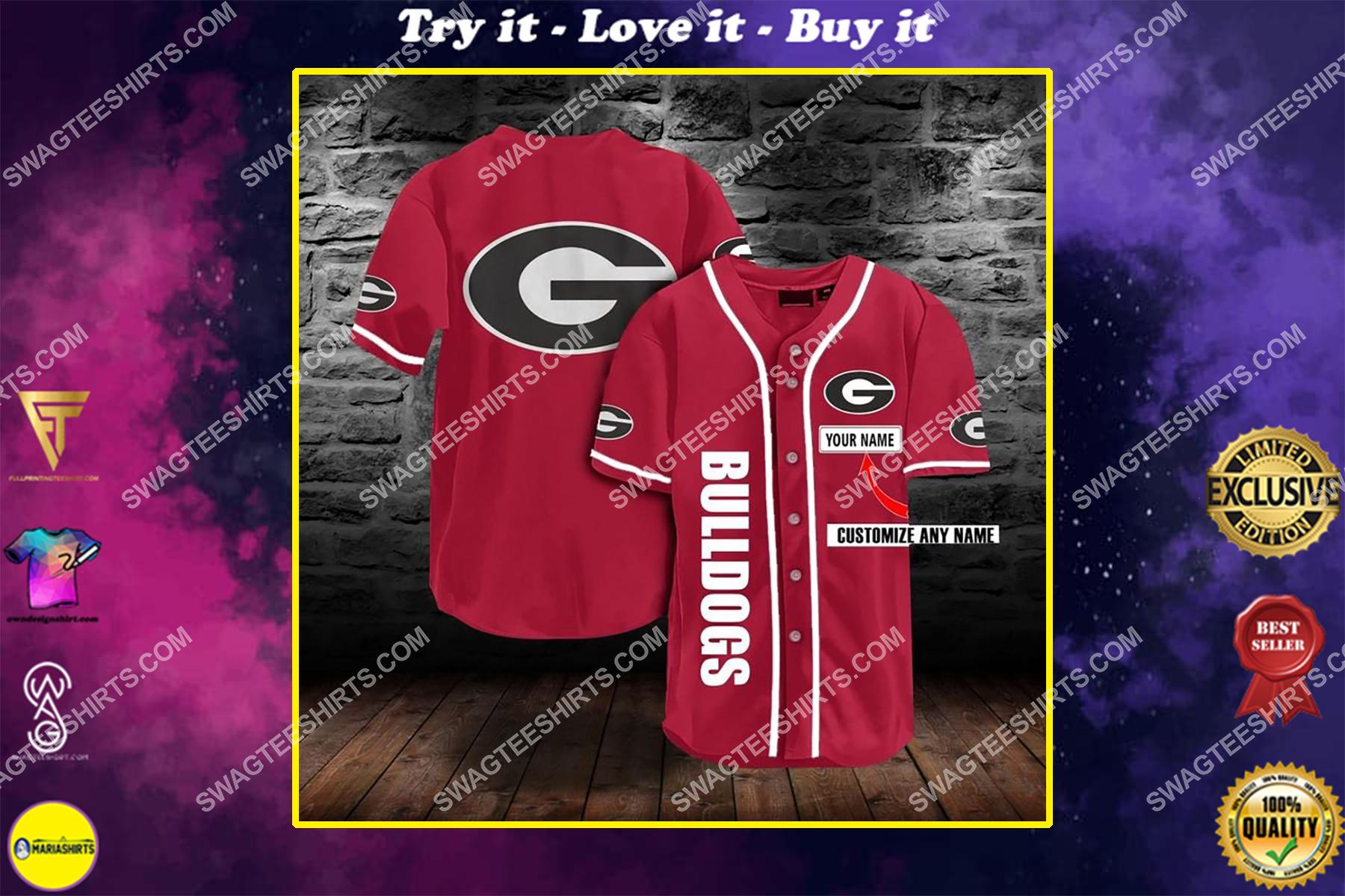 custom name the georgia bulldogs full printing baseball jersey