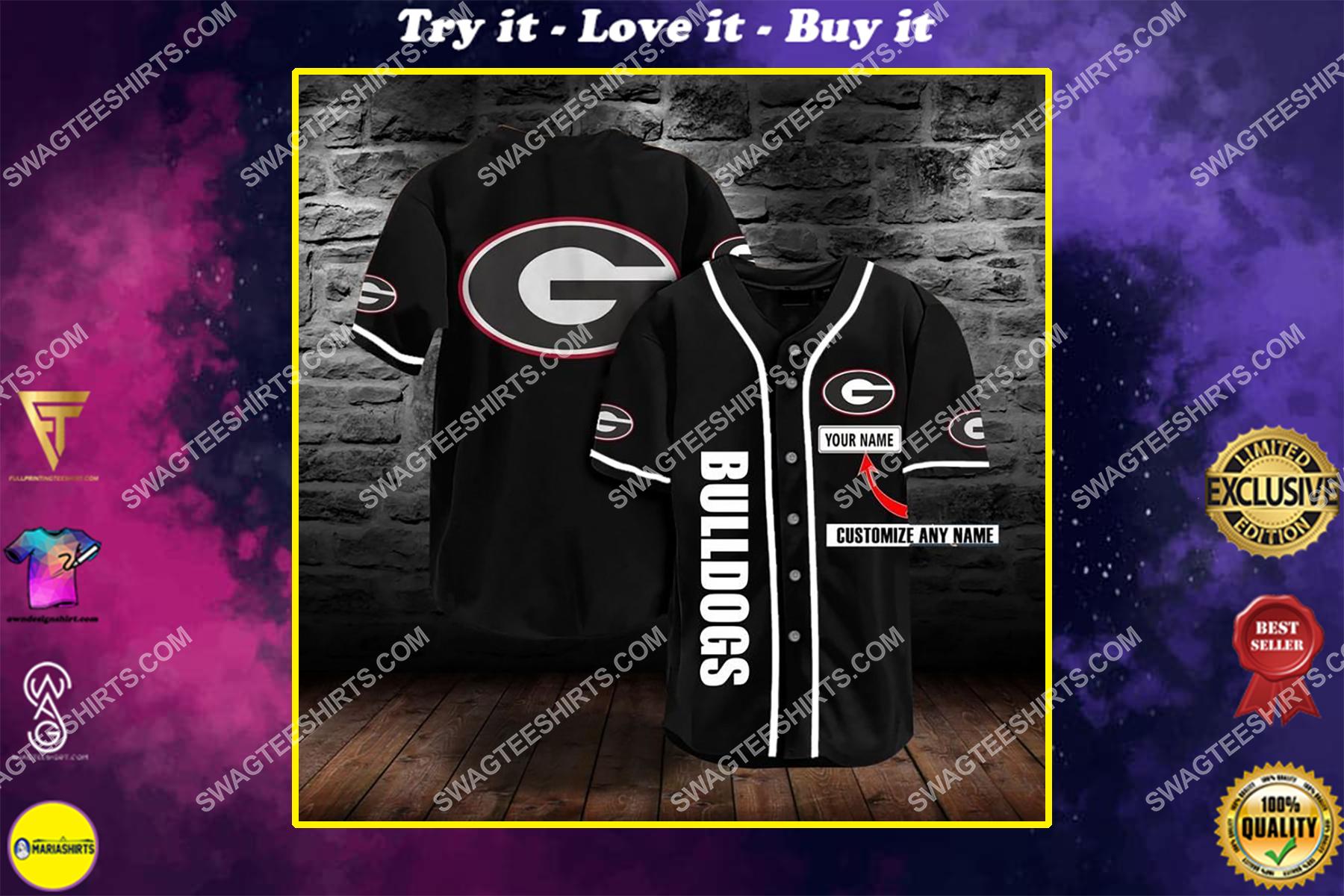 custom name the georgia bulldogs team full printing baseball jersey