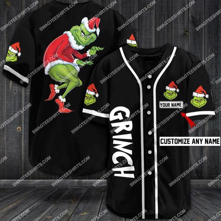 custom name the grinch all over printed baseball shirt 1