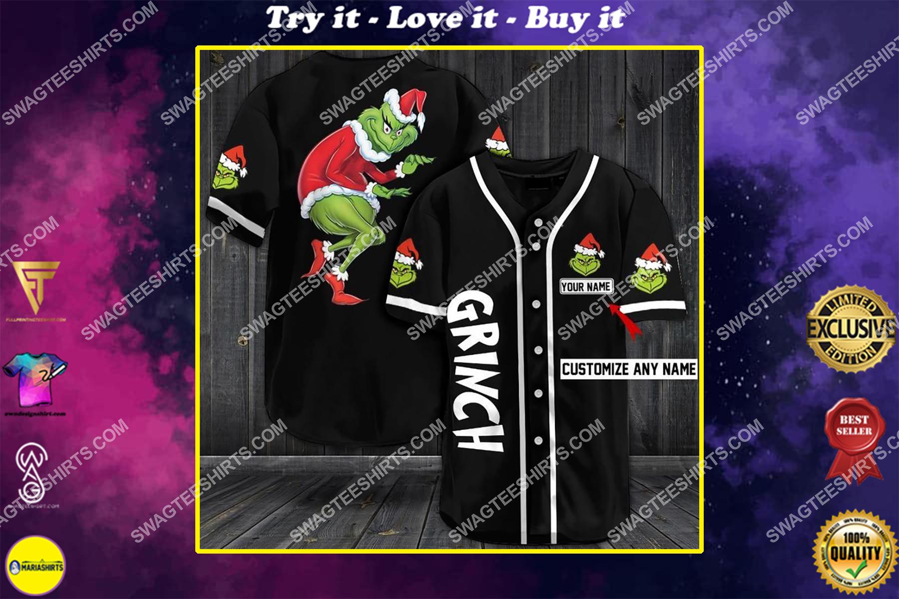 custom name the grinch all over printed baseball shirt