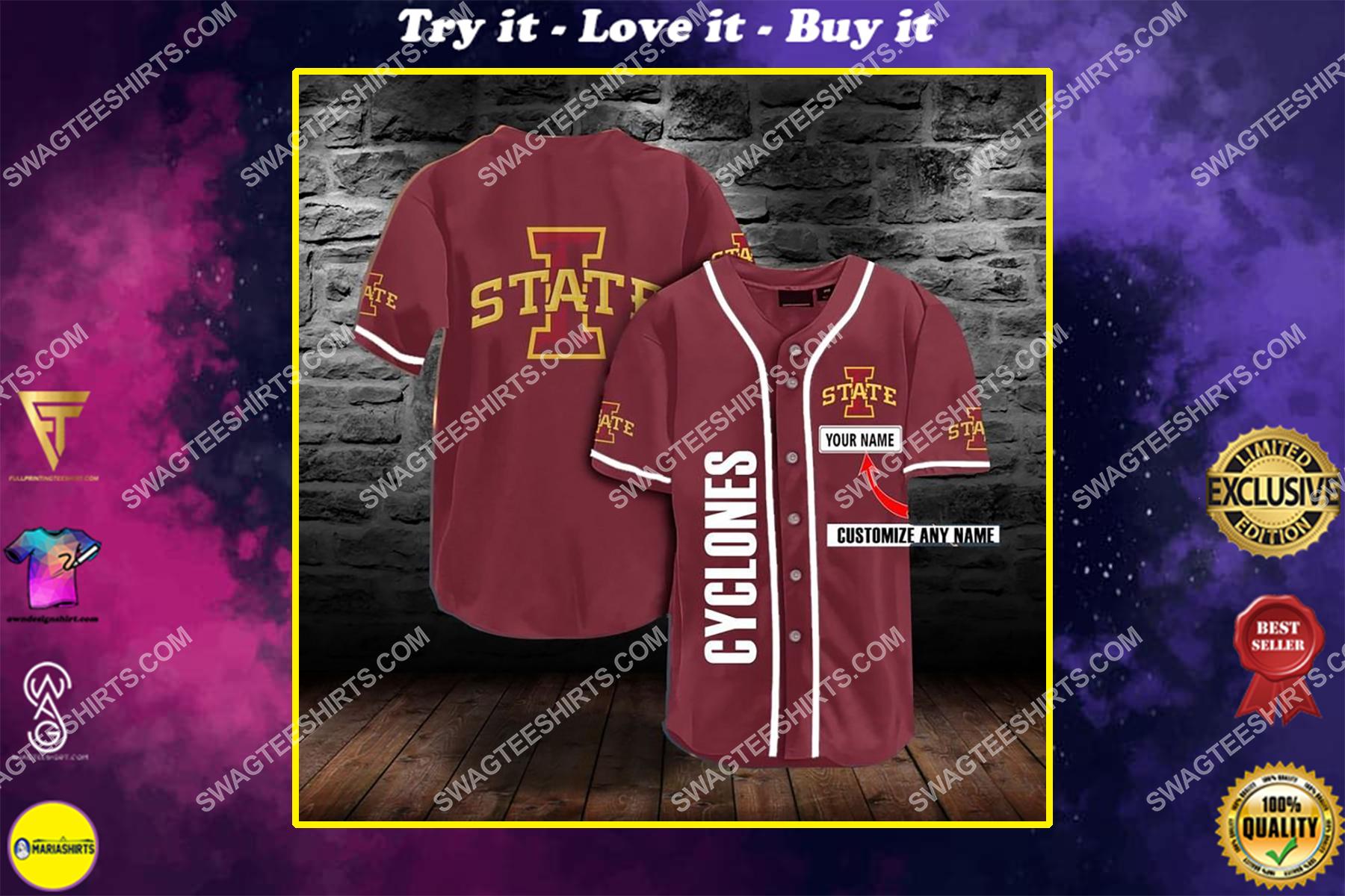 custom name the iowa state cyclones full printing baseball jersey