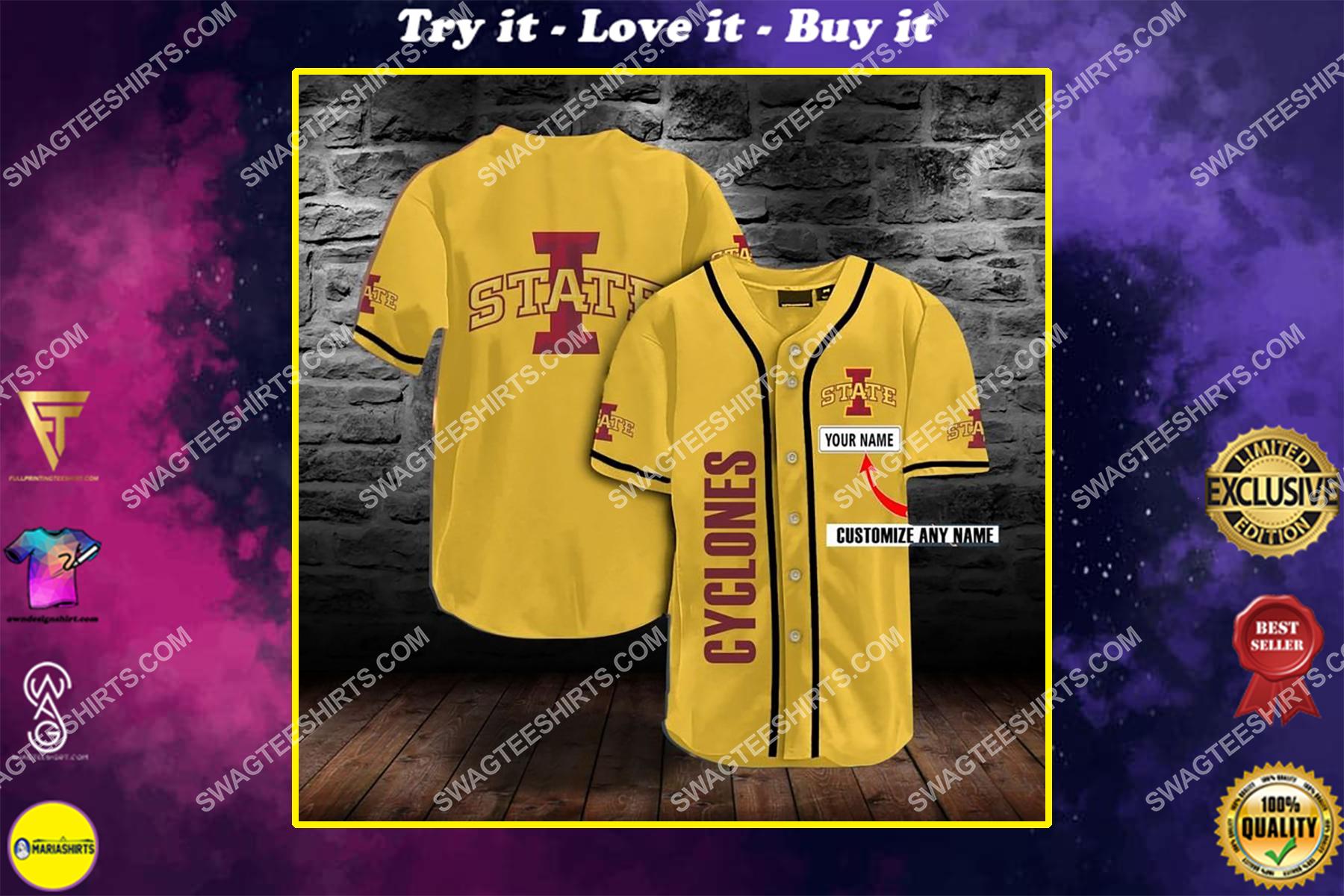 custom name the iowa state cyclones team full printing baseball jersey