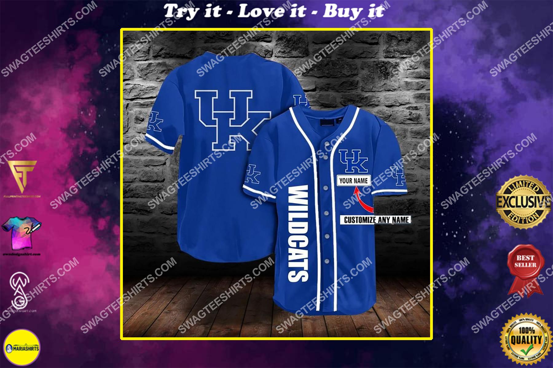 custom name the kentucky wildcats team full printing baseball jersey