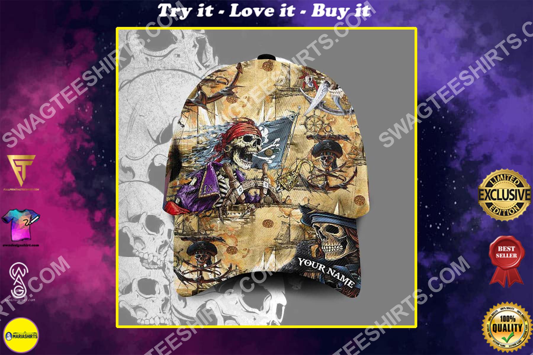 custom name the skull pirates all over printed classic cap
