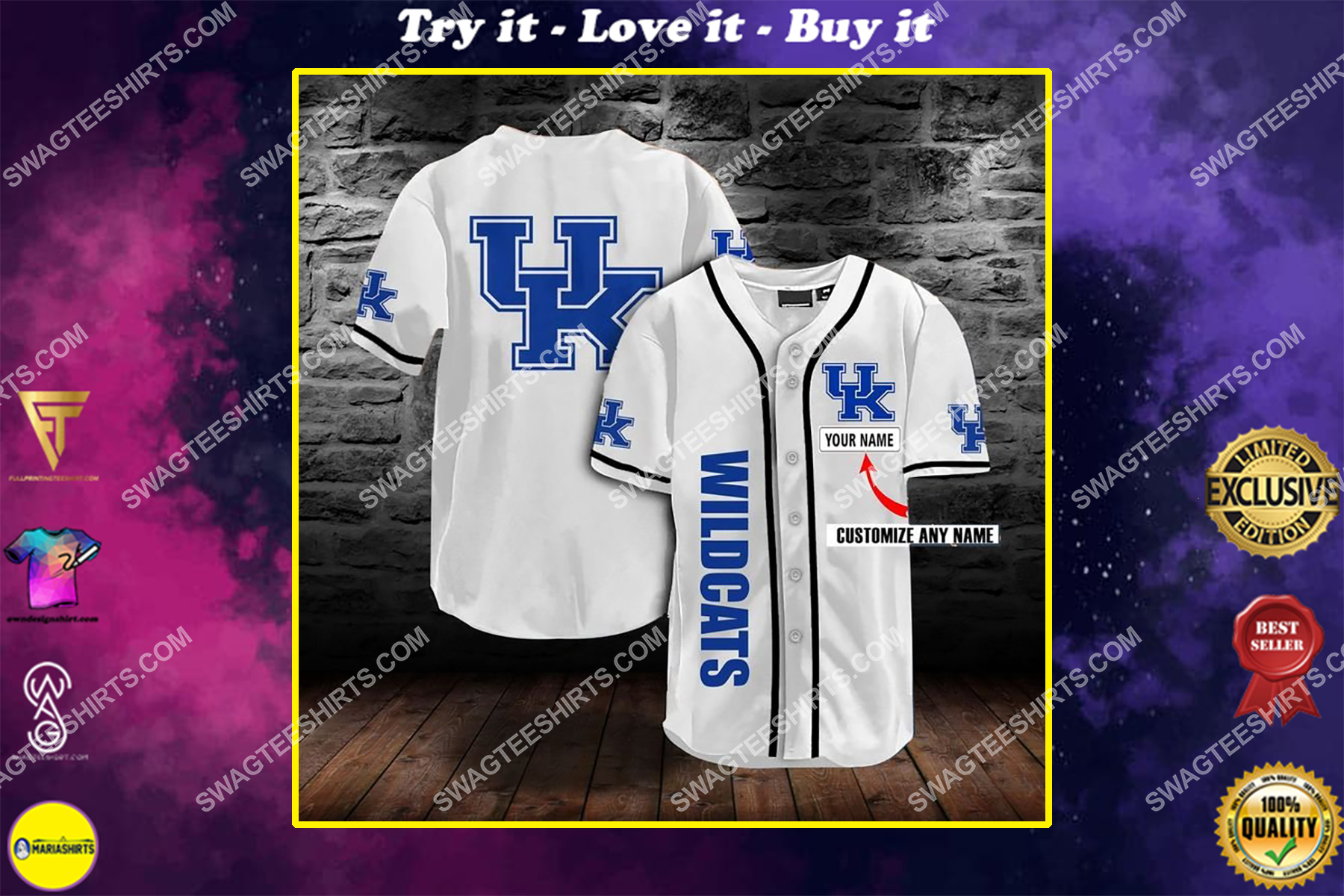 custom name the university of kentucky wildcats full printing baseball jersey
