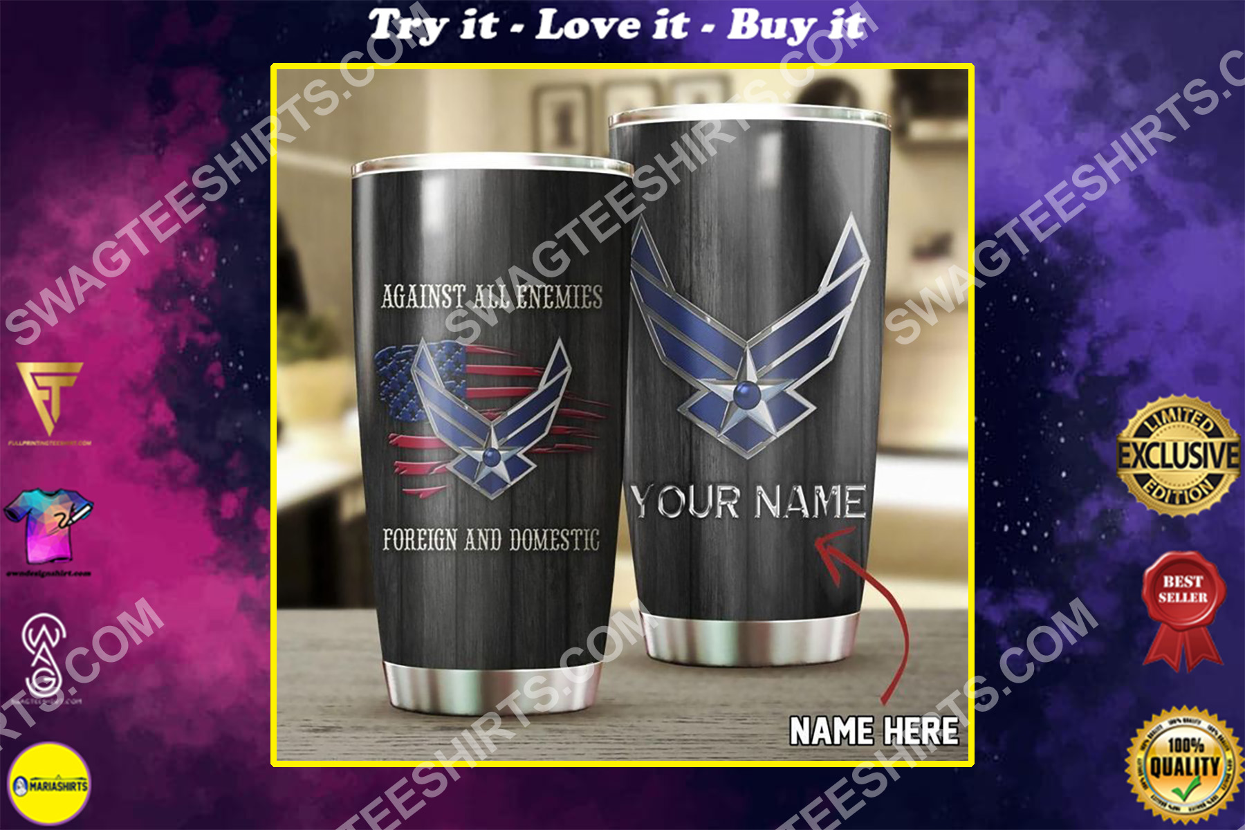 custom name us air force against all enemies all over printed stainless steel tumbler