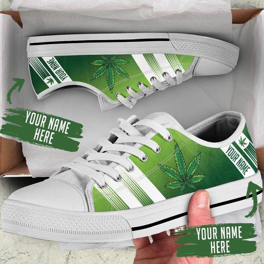 custom name weed leaf green full printing low top shoes 2