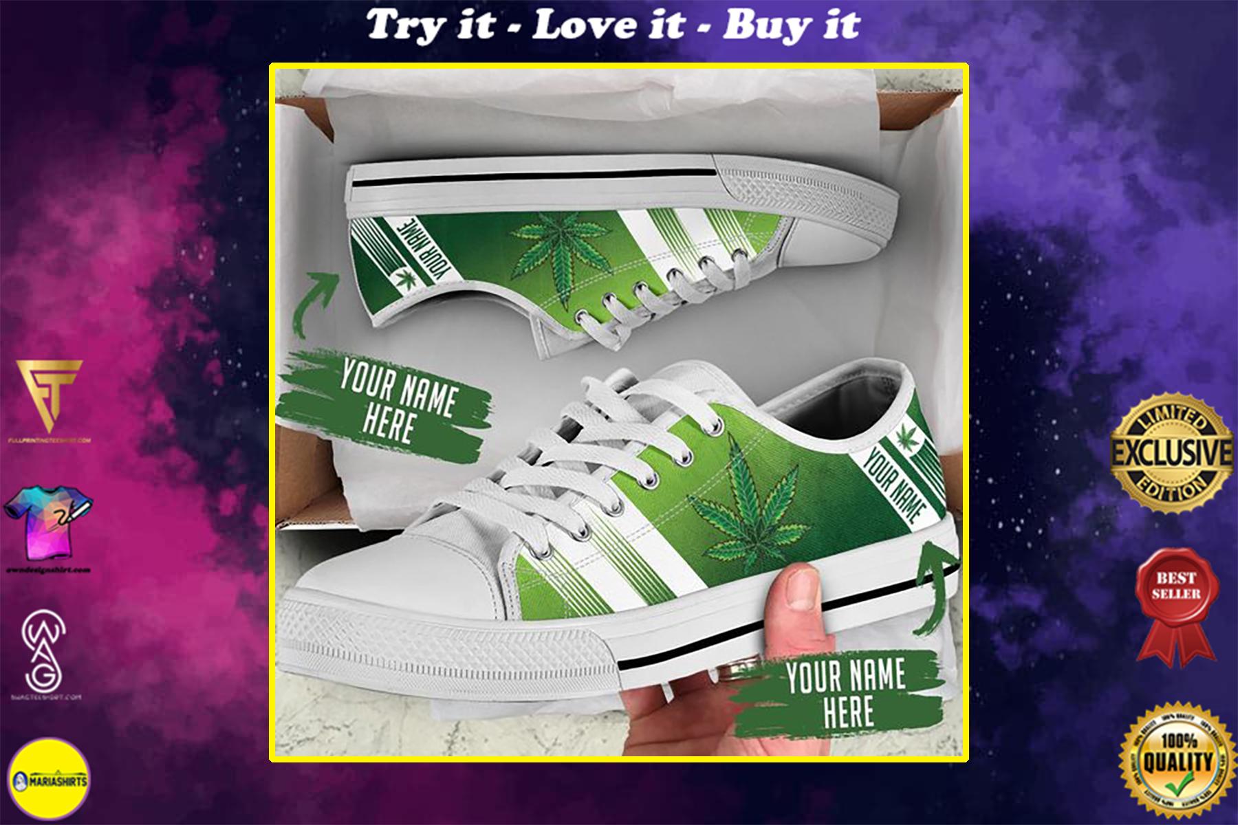 custom name weed leaf green full printing low top shoes