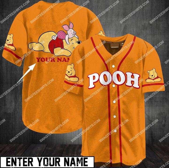 custom name winnie-the-pooh all over printed baseball shirt 1