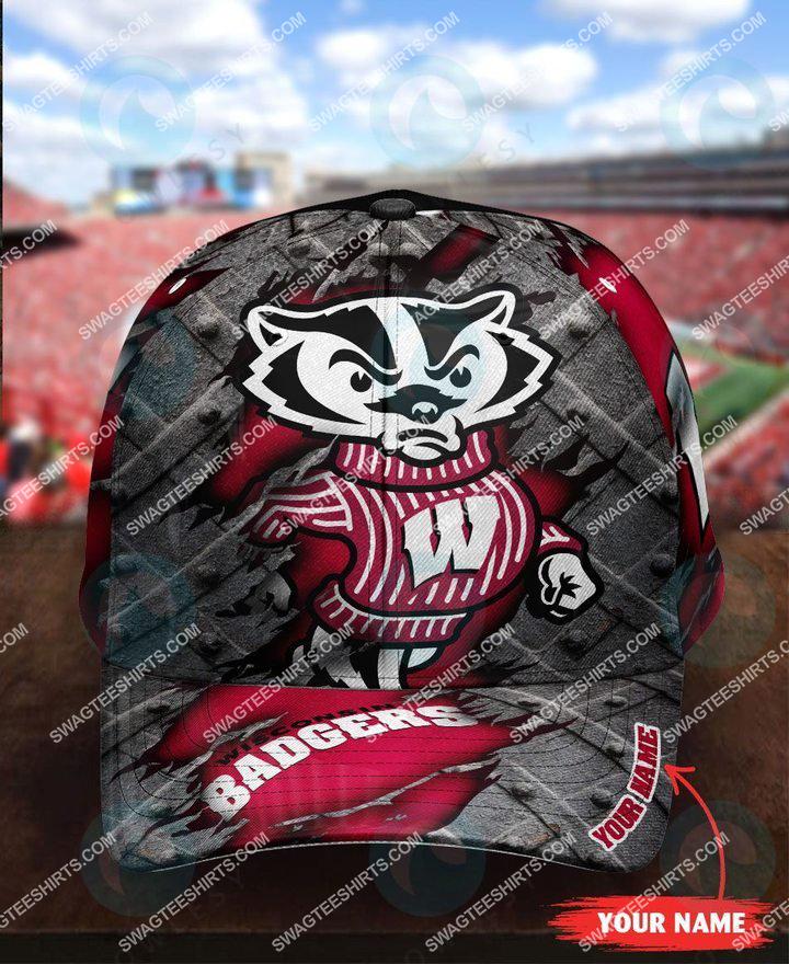custom name wisconsin badgers football full printing cap 1(1)