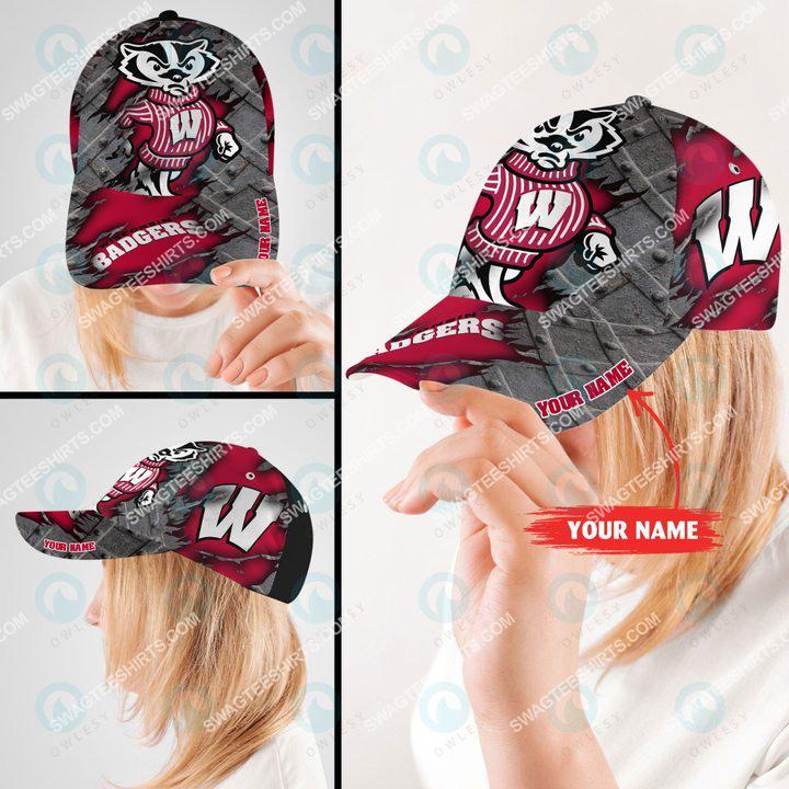 custom name wisconsin badgers football full printing cap 2(1)